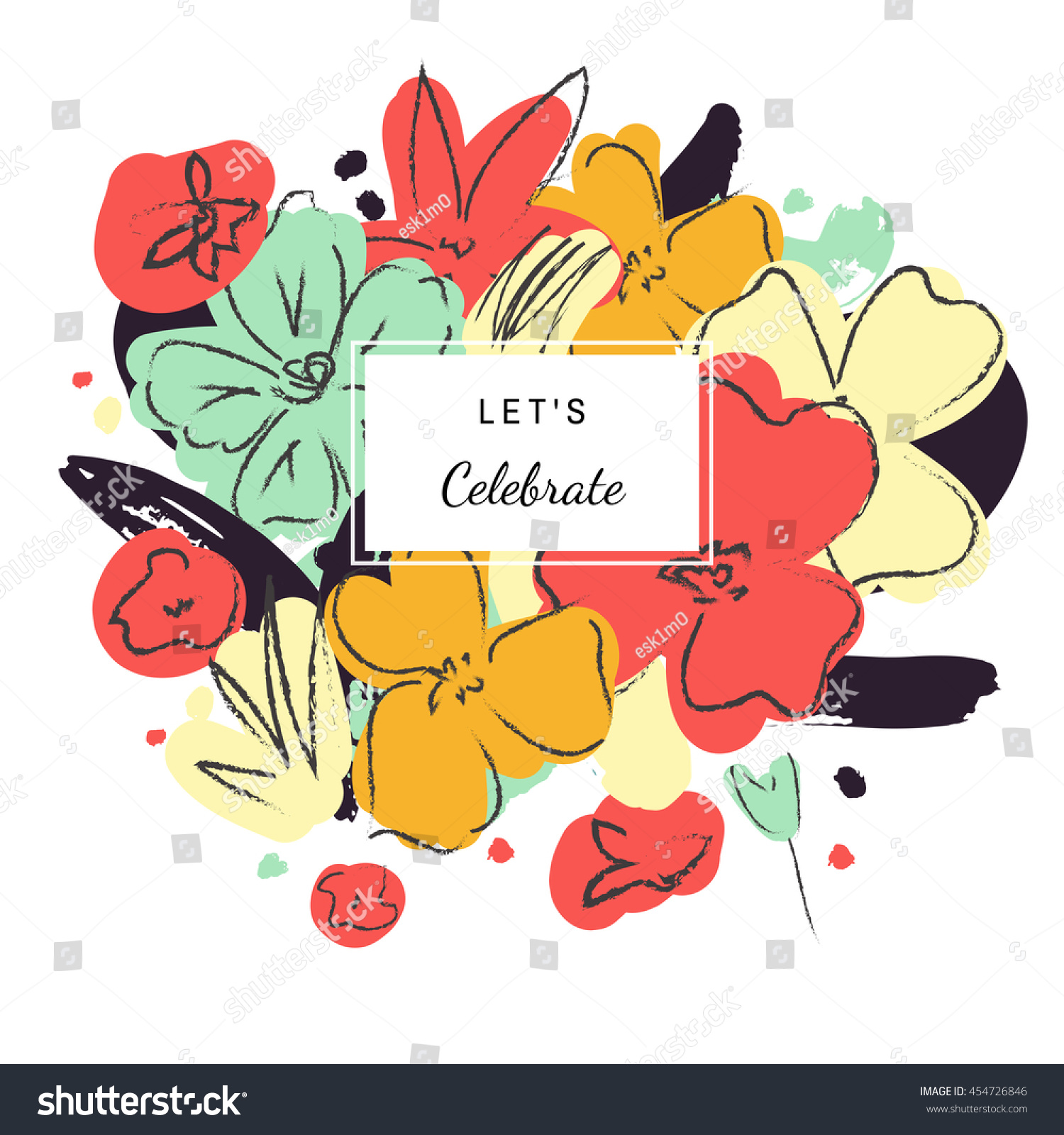Happy Birthday Abstract Floral Card Hand Stock Illustration