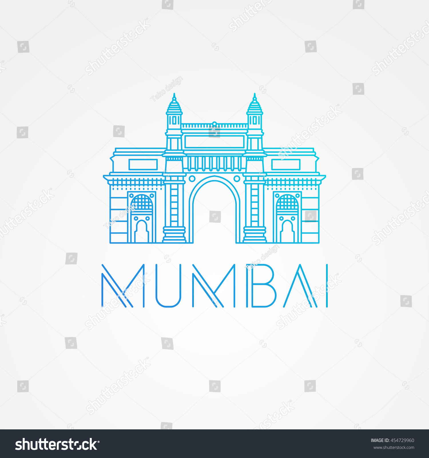world famous gate india greatest landmarks stock vector 454729960 shutterstock. Black Bedroom Furniture Sets. Home Design Ideas