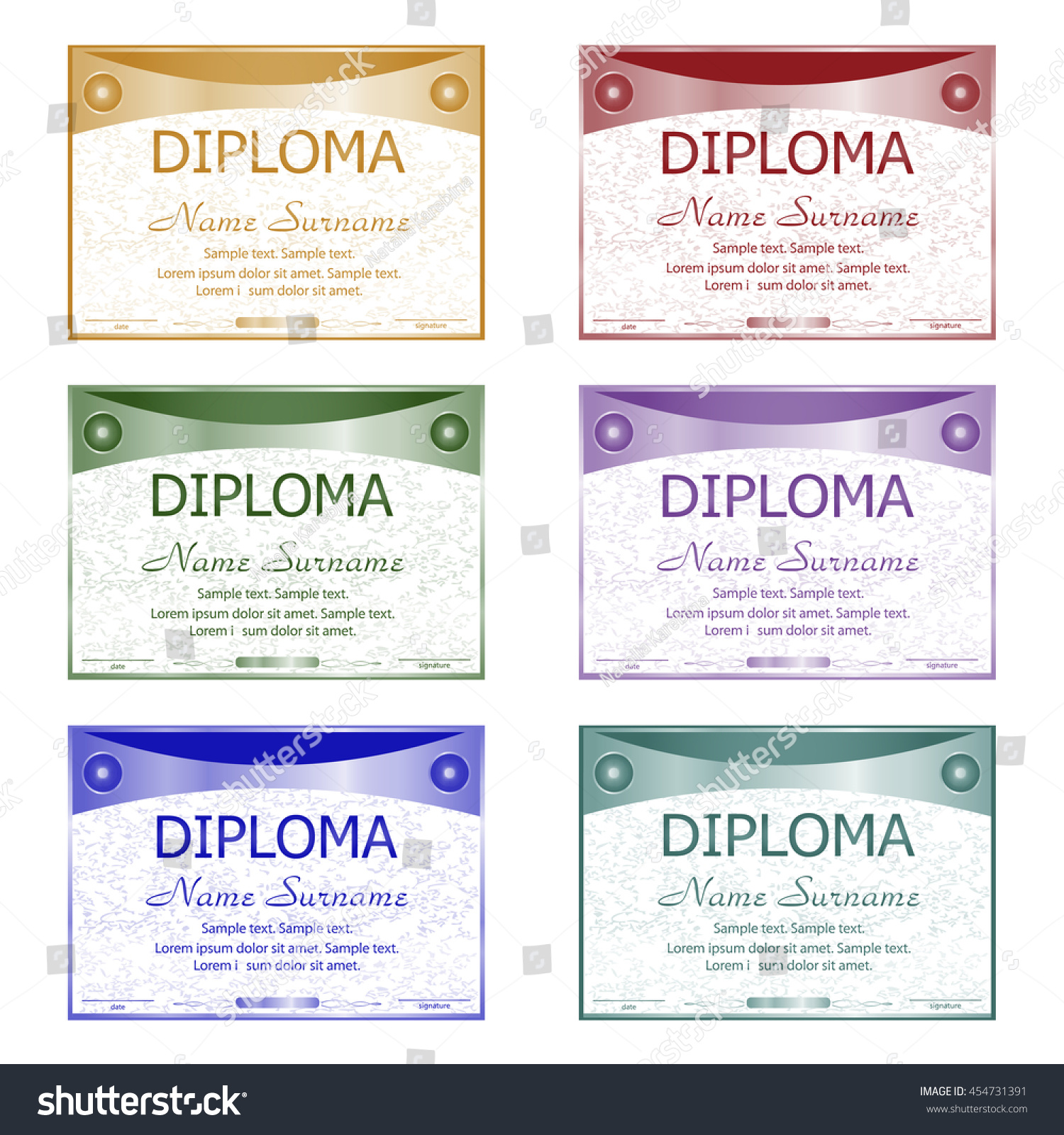 Set diploma certificate winning competition reward stock vector set diploma certificate winning the competition reward award winner horizontal template yelopaper Choice Image