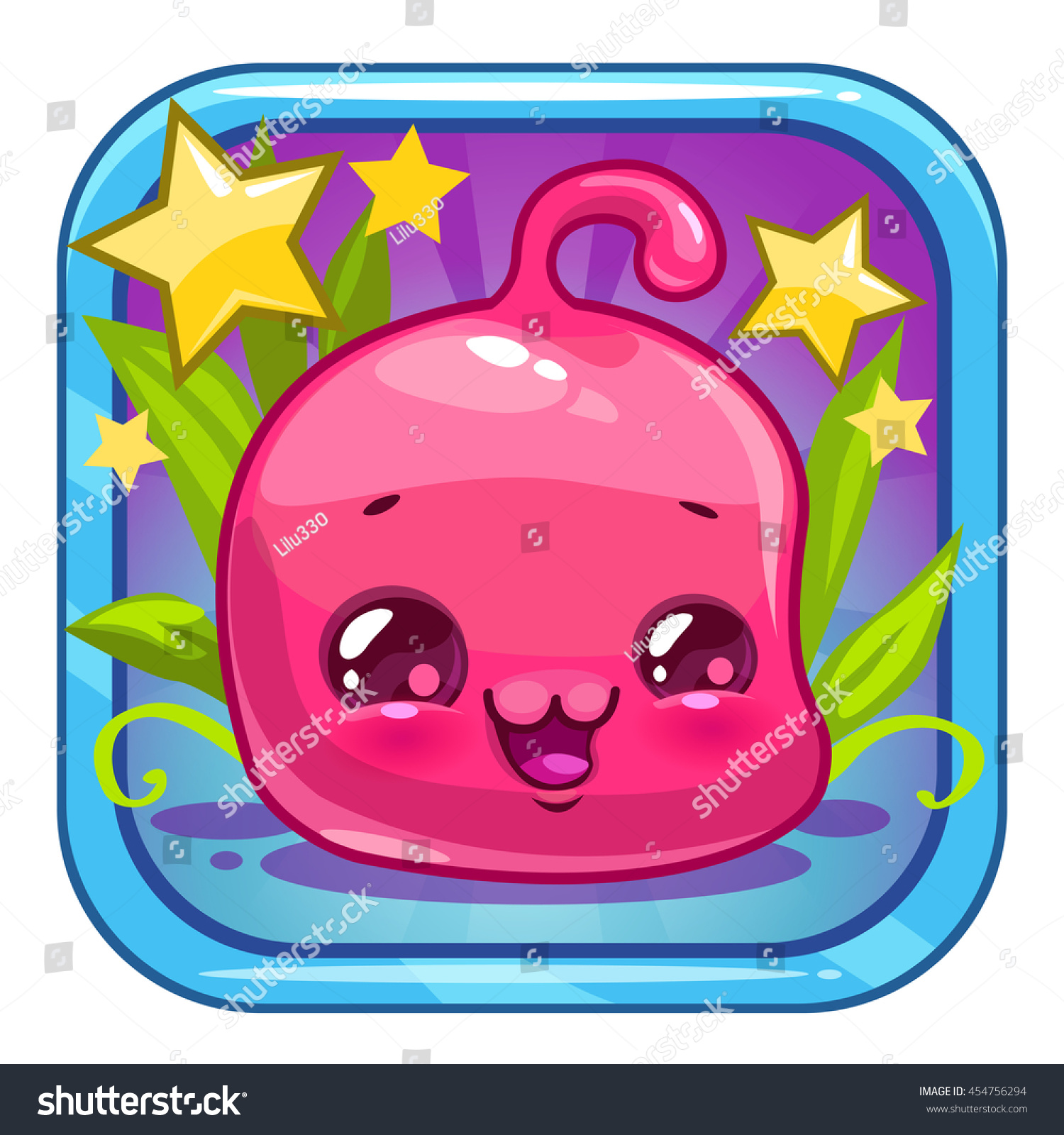 funny jelly alien character cute square stock vector 454756294