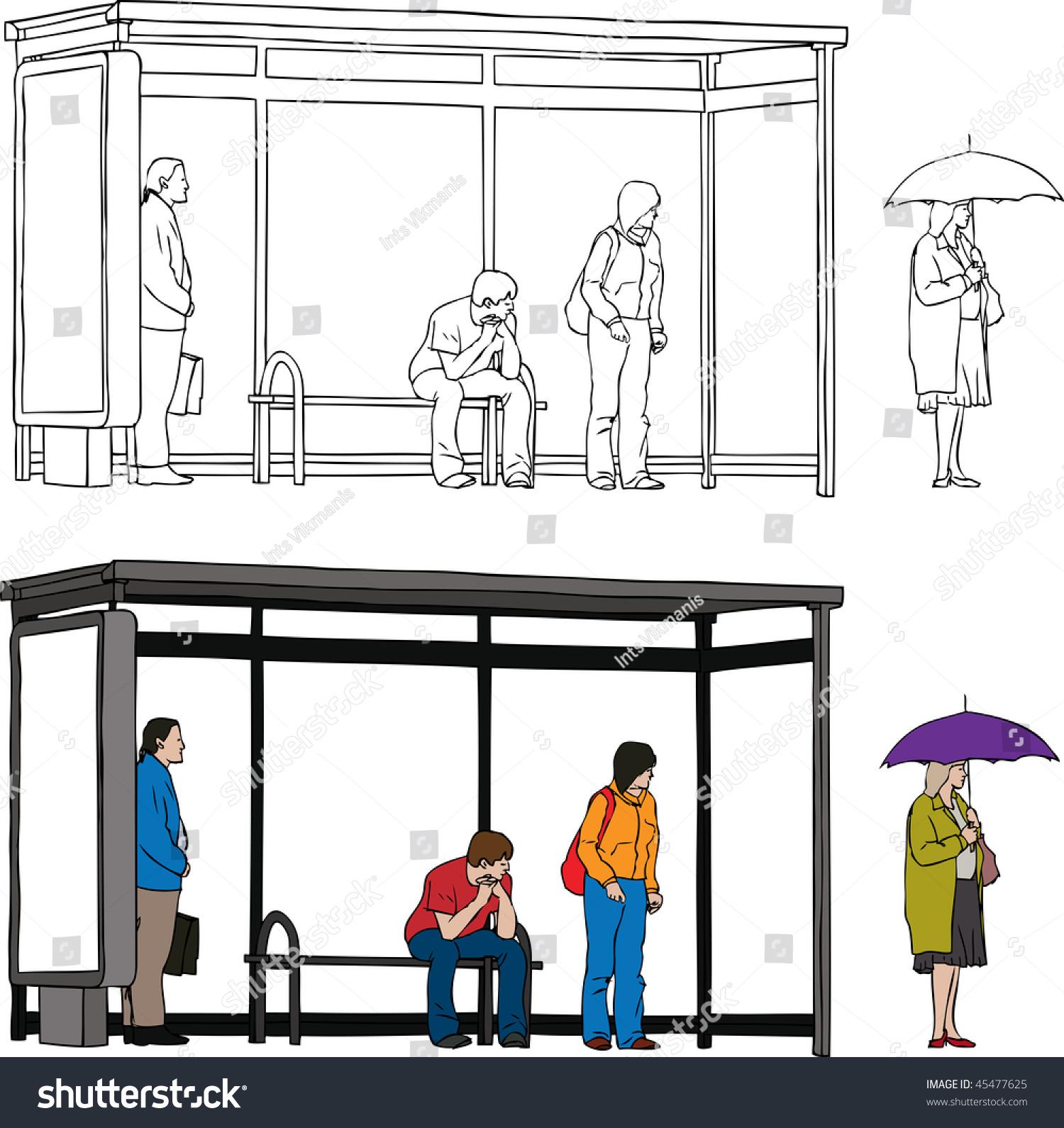 sketch bus stop blank billboard people stock illustration Fire Station Clip Art Train Station Clip Art