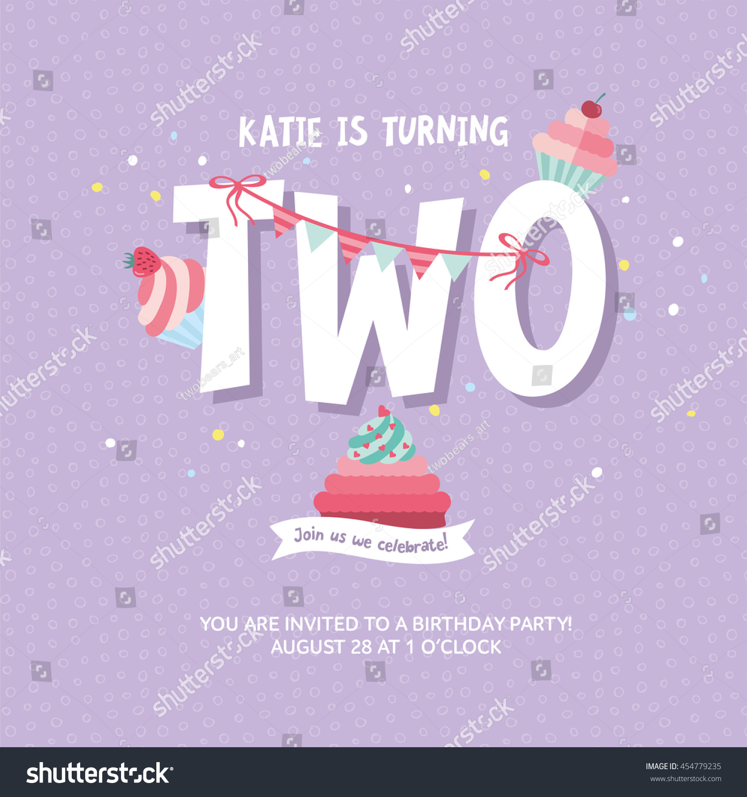 Greeting Card Design Birthday Cakes Happy Stock Vector
