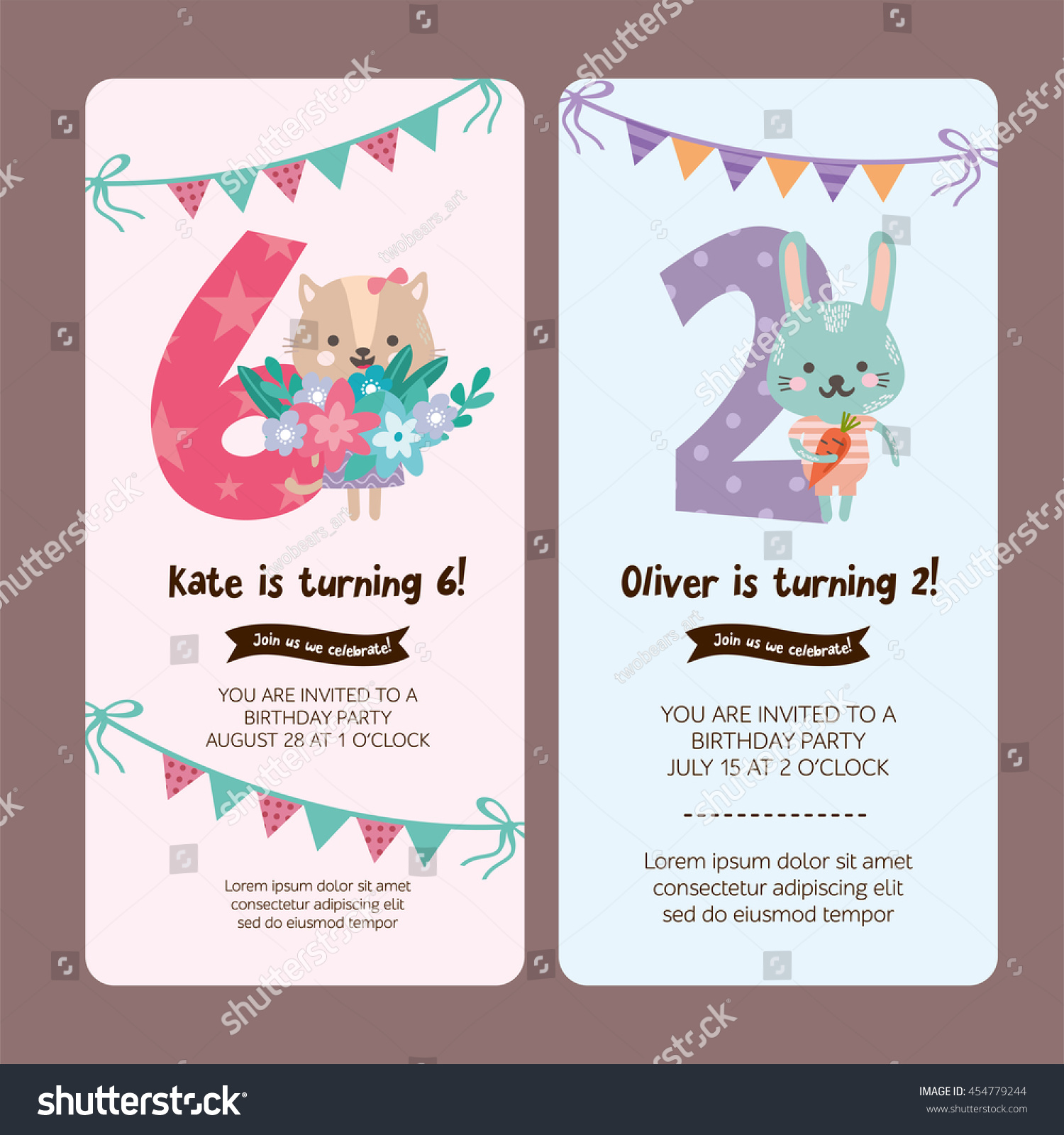 Set Greeting Card Design Cute Cat Stock Vector - Happy birthday invitation card design