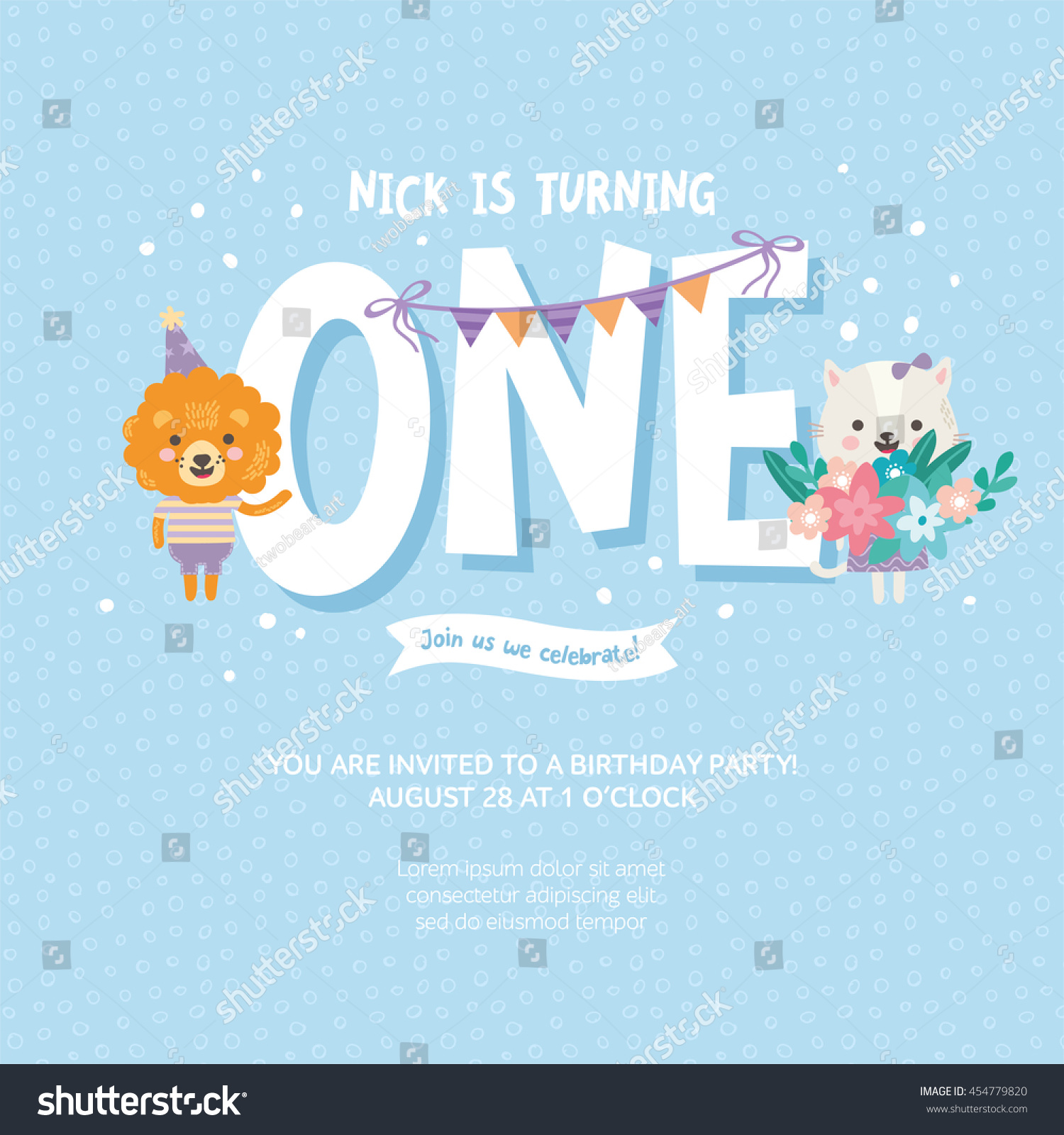 Greeting Card Design Cute Lion Cat Stock Vector