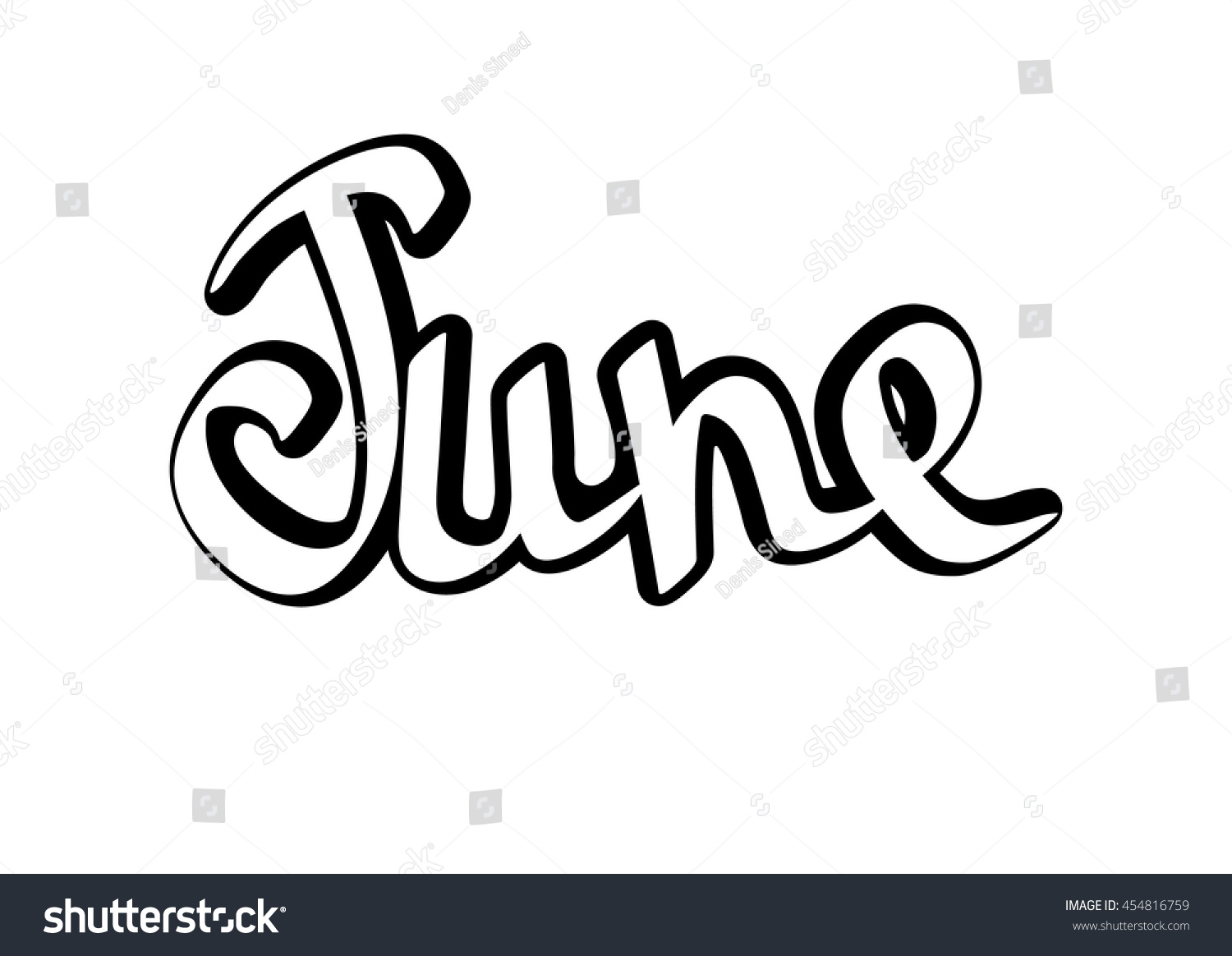 June isolated calligraphy lettering sticker template stock