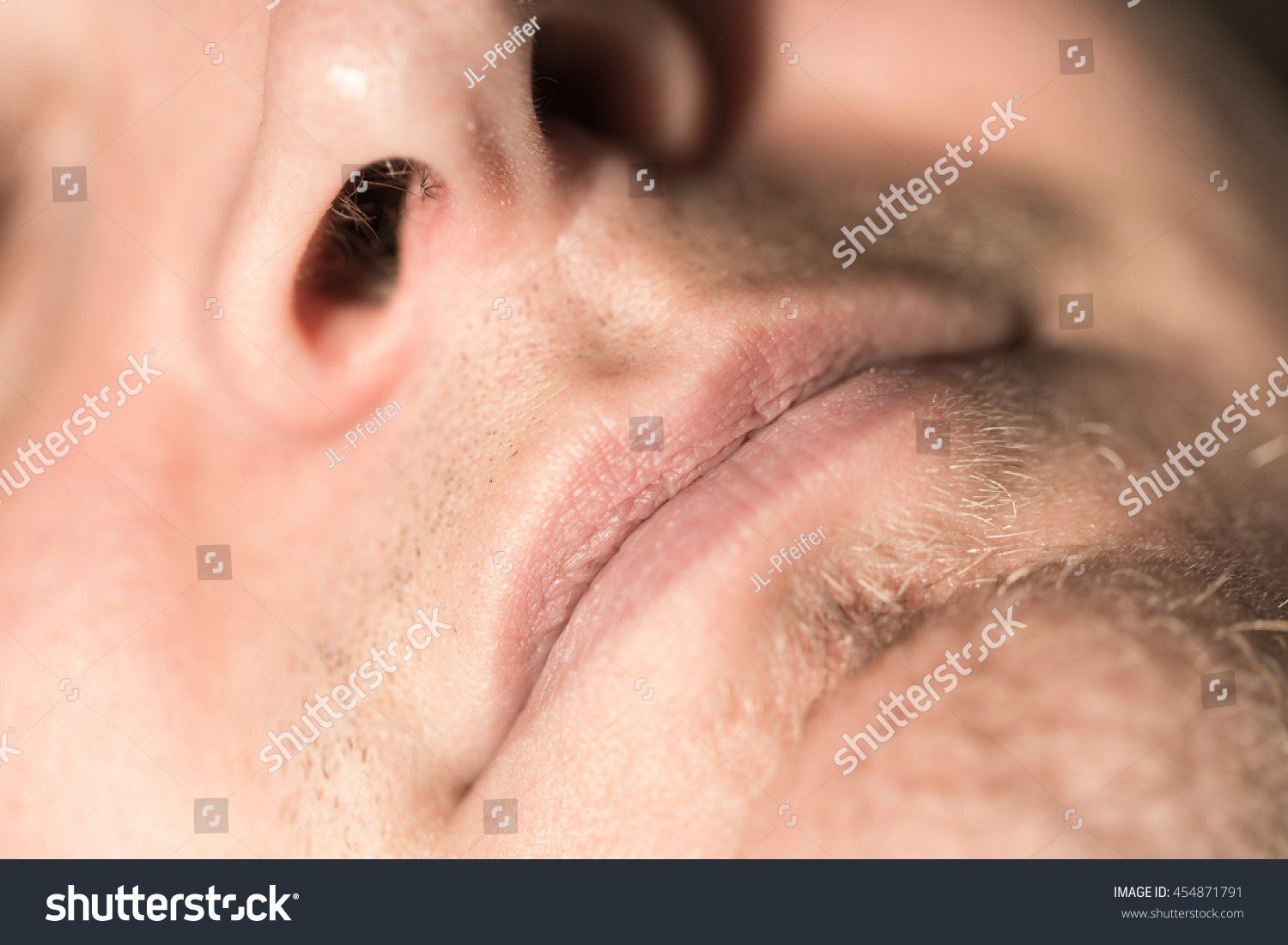 Extreme Anatomy Macro Relaxed Man Face Stock Photo (Royalty Free ...