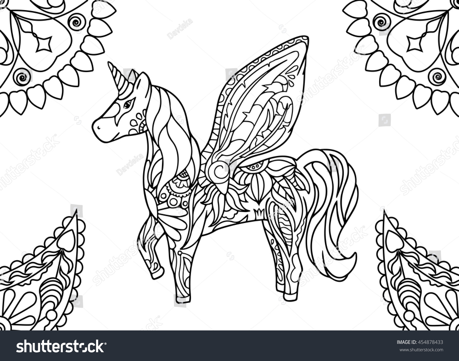 Unicorn Mandalas Coloring Page Hornicorn Outlined Stock Vector ...