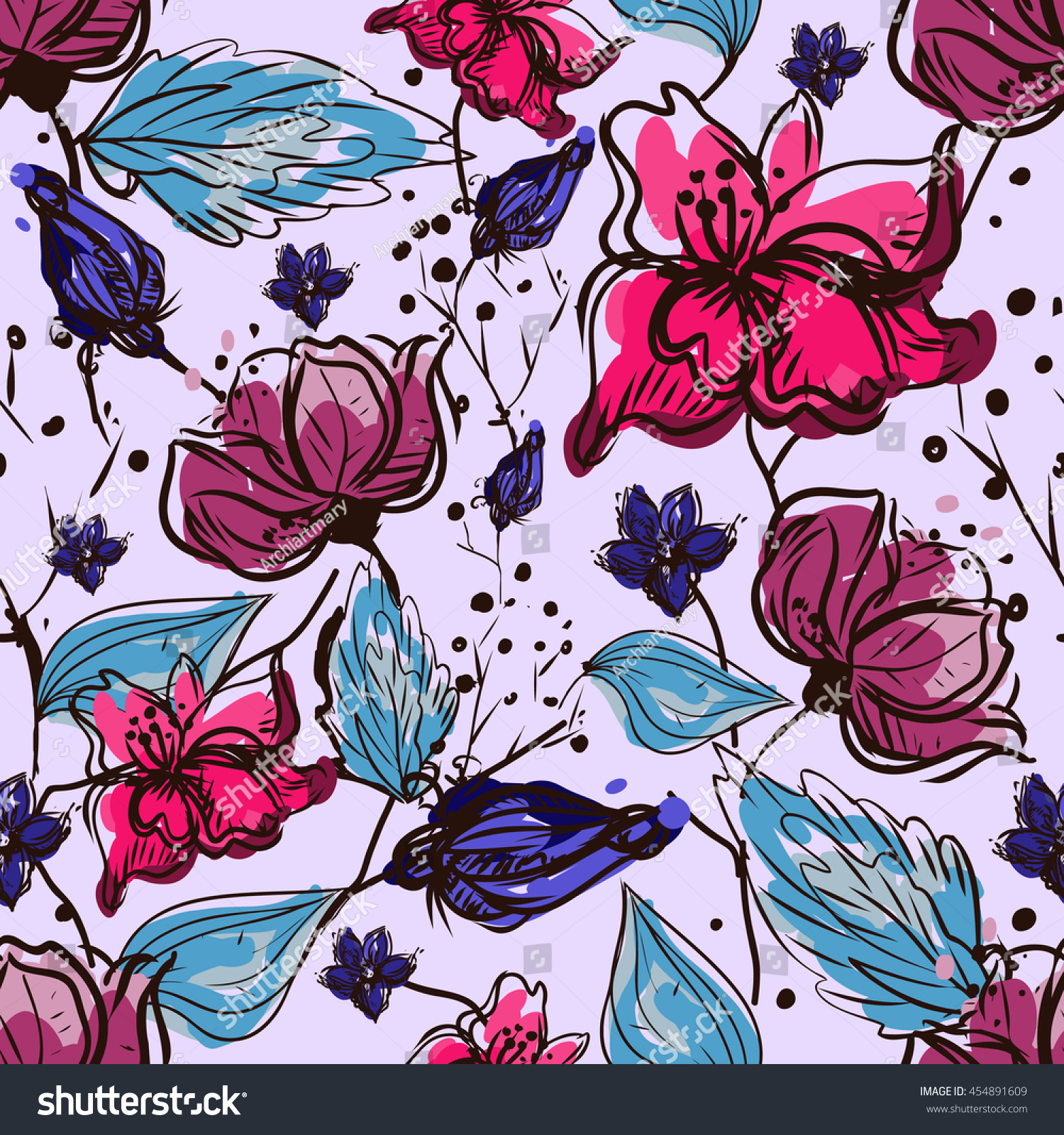 Flower seamless pattern Vector Floral hand drawn texture Sketch free hand Textile ink graphic