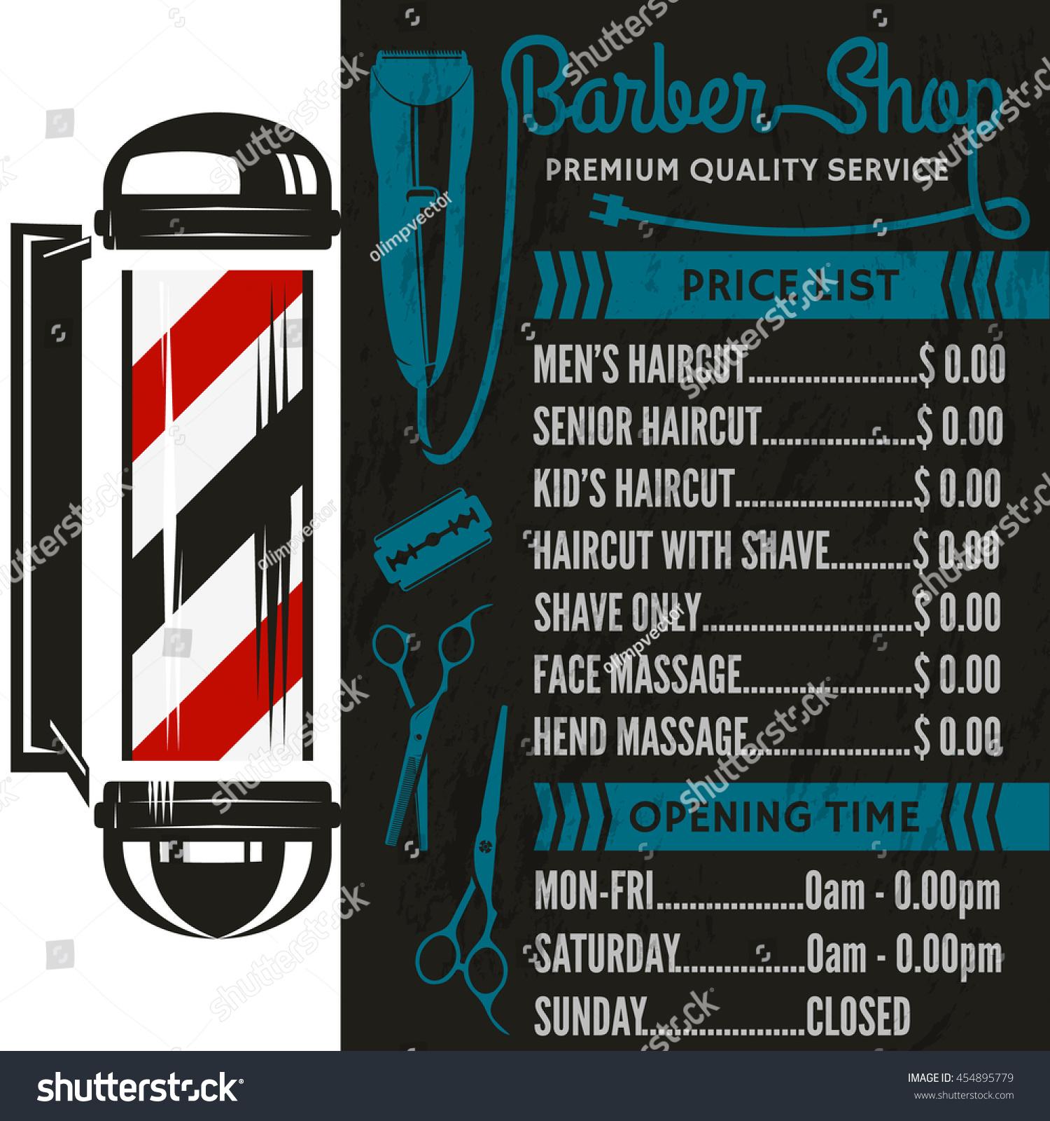 barber shop vector price list template stock vector 454895779