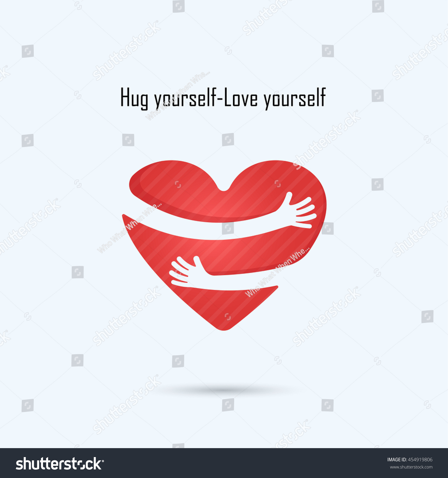 Hug Yourself Logolove Yourself Logolove Heart Stock Vector 454919806 ...