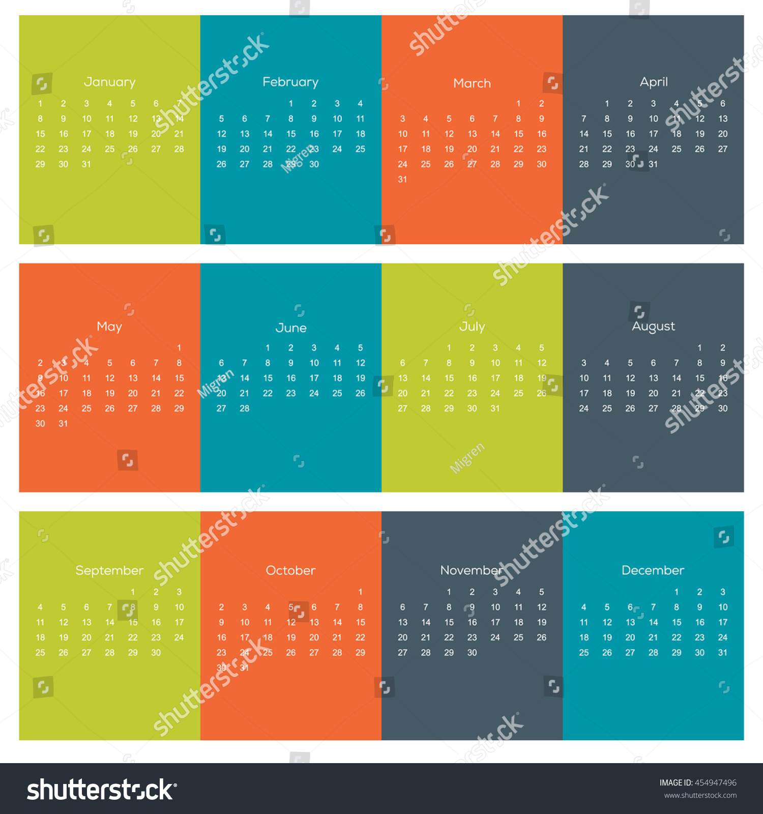 Next Year Calendar : Hippie colors calendar for next year stock vector