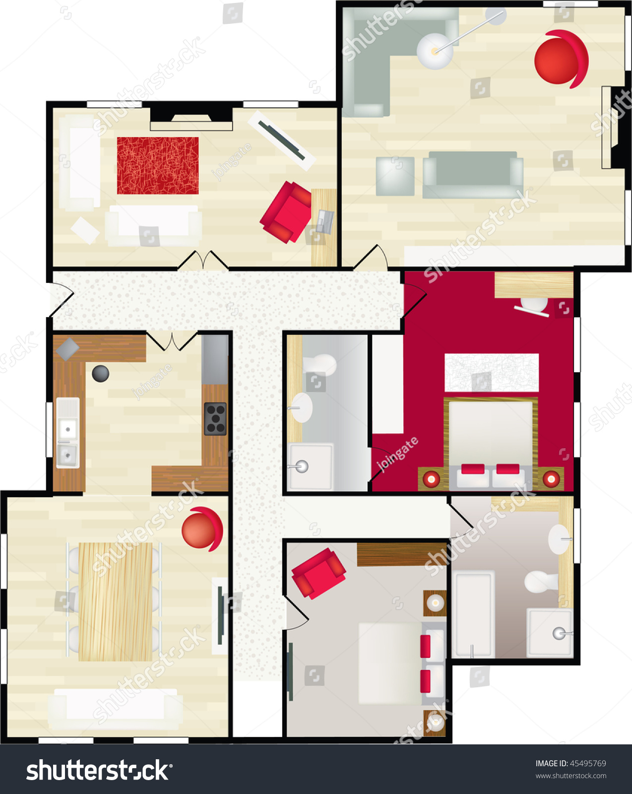 Typical floor plan of a house in color with furnishings for Typical house floor plan