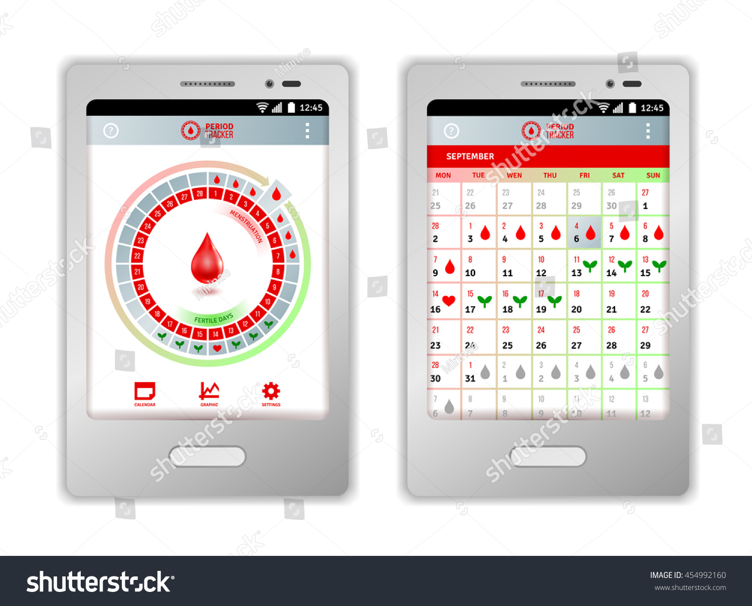 Calendar Design Sia : Period tracker tablet mobile phone application Стоковое
