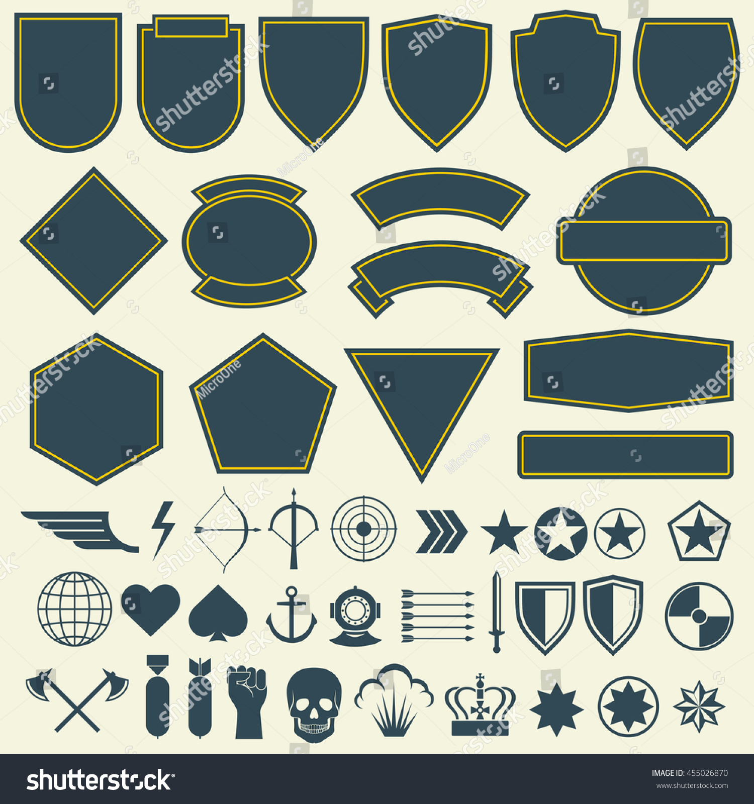 Vector elements military army patches badges stock vector for Military patch template