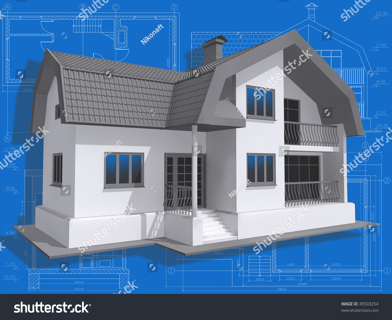 3d isometric view of residential house on architect u0026 39 s