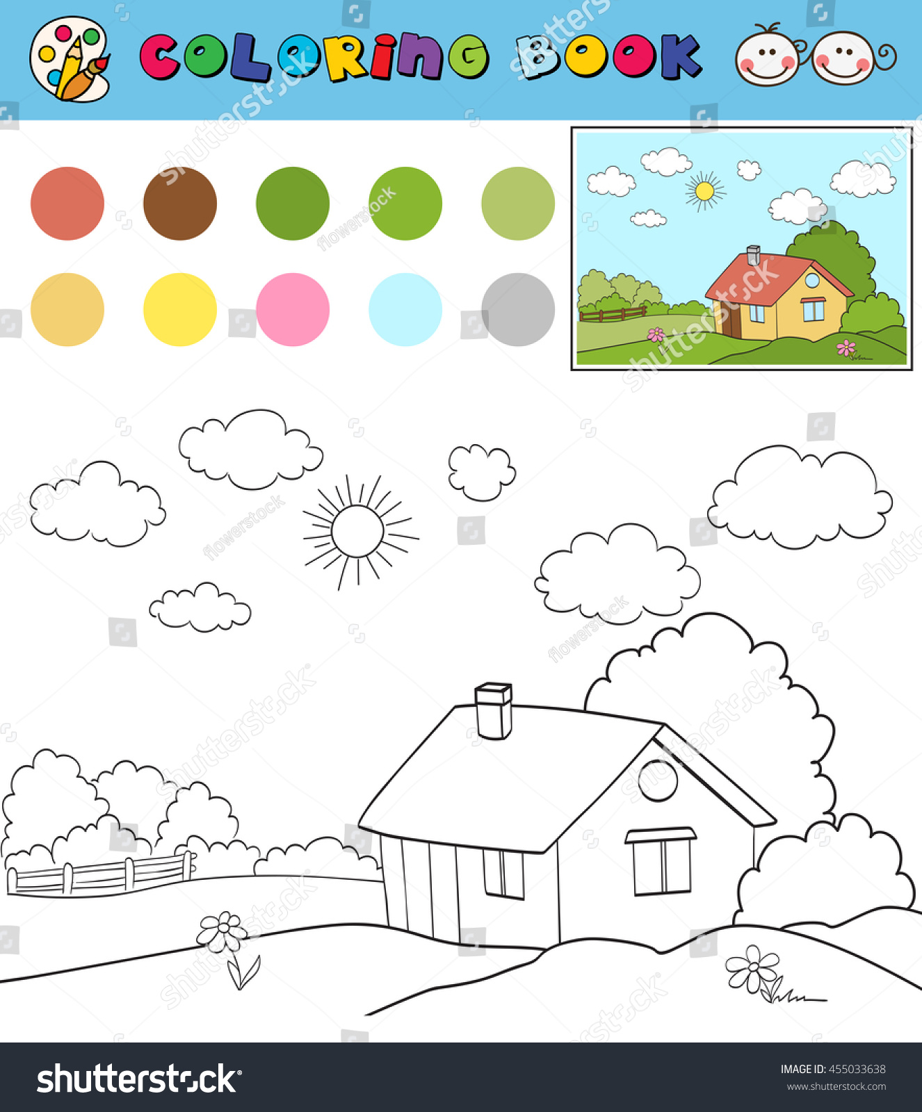 Coloring Book Page Template With House On Countryside Landscape Color Samples Vector Illustration