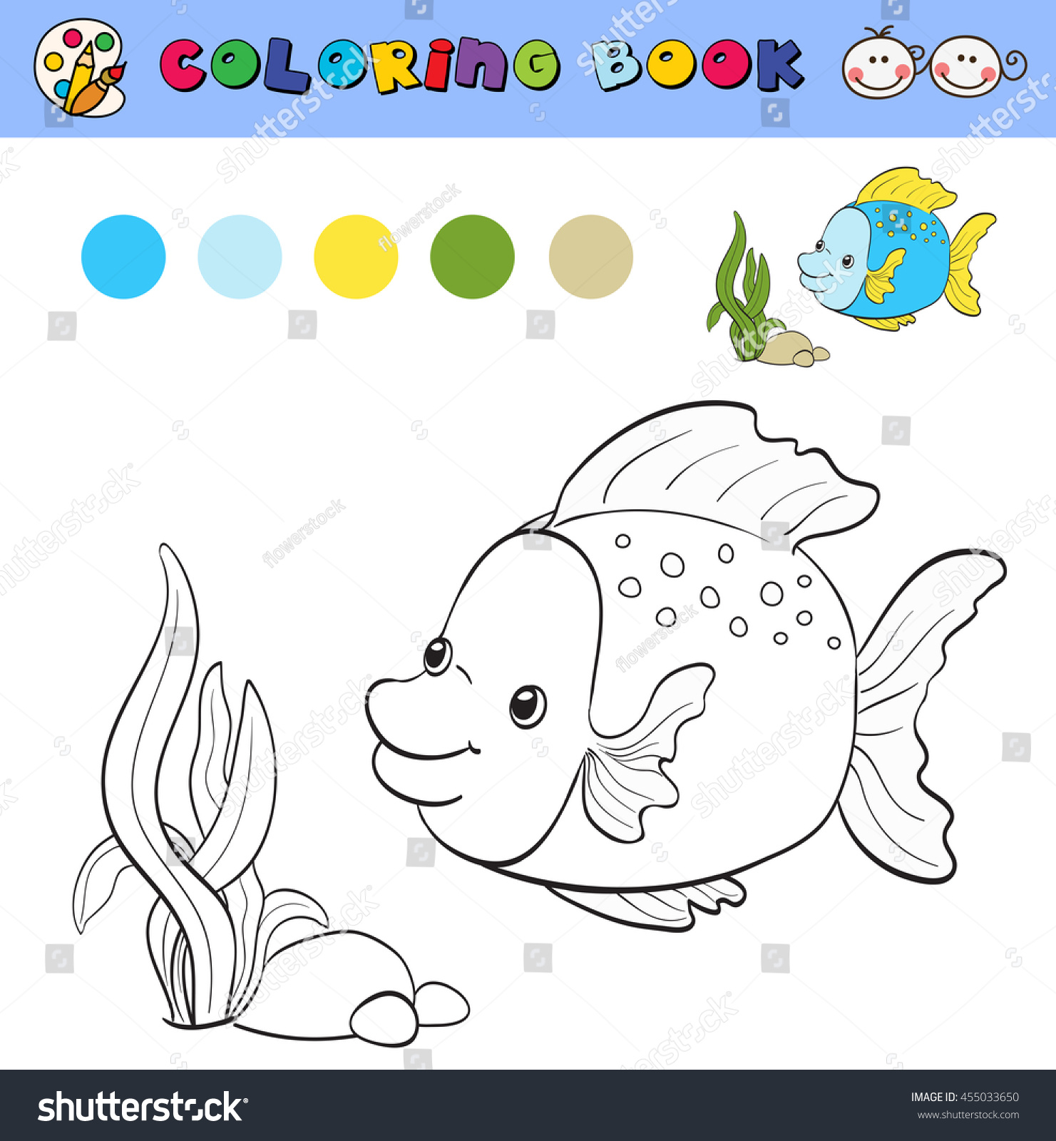 Coloring Book Page Template With Tropical Fish And Plants Color Samples Vector Illustration