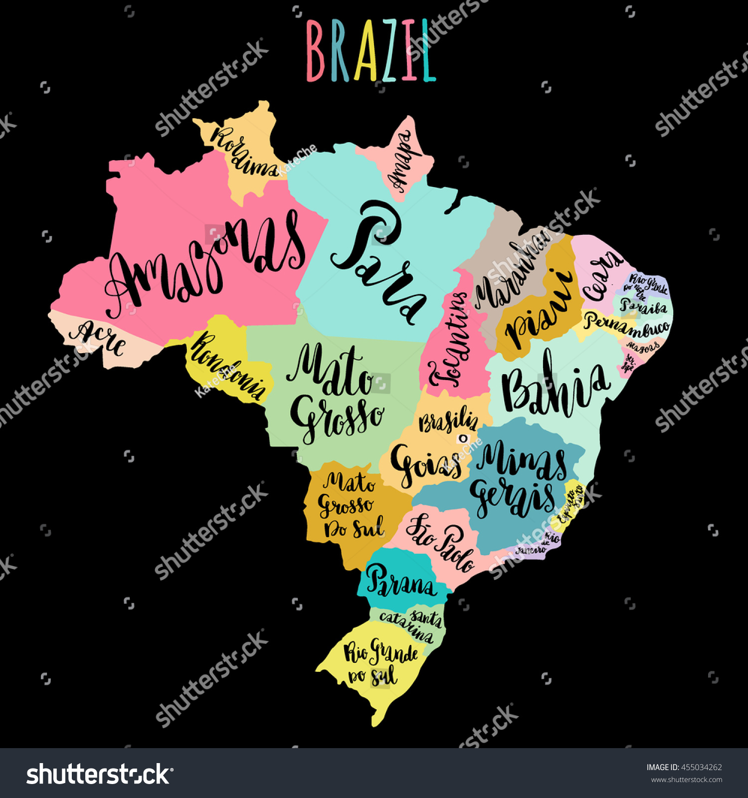 Brazil Map Showing States Vector Ring Of Kerry Map Miami Maps - Brazil states map