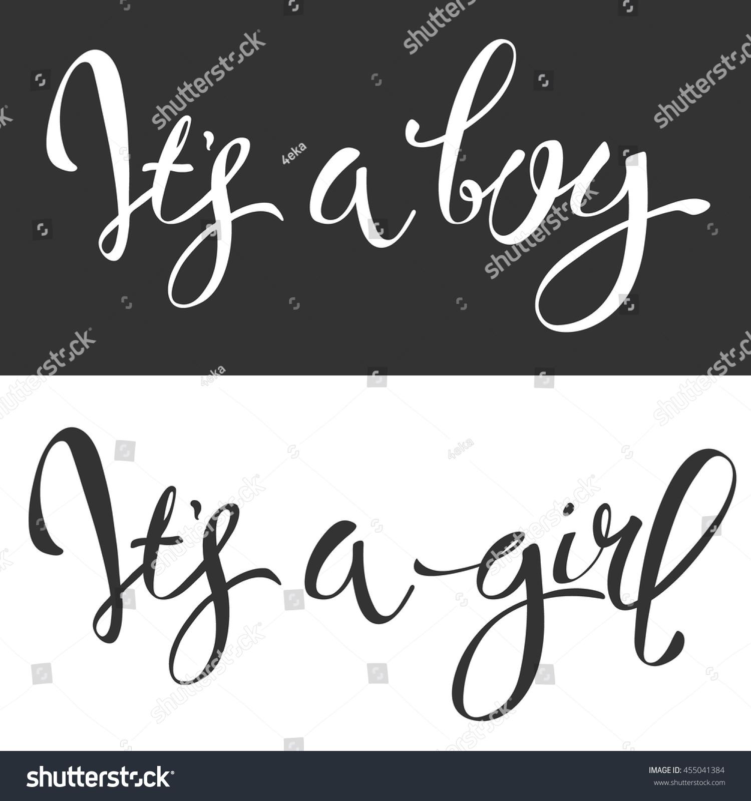 Vector calligraphy greeting card boy girl stock