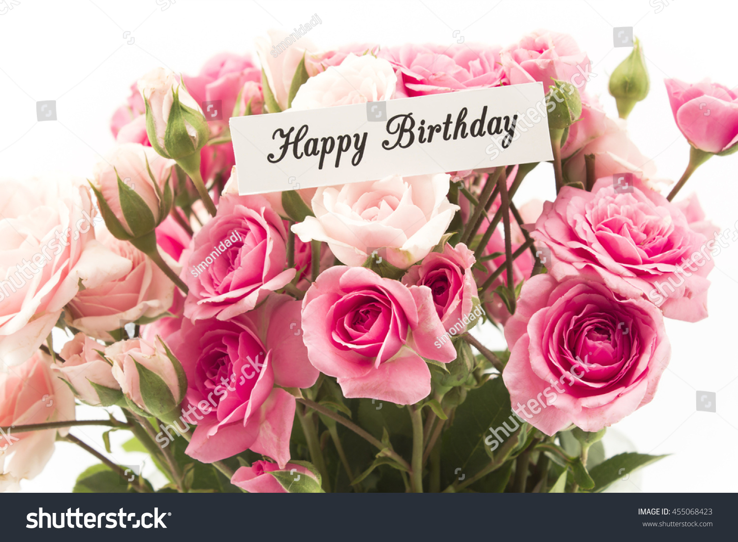 Happy Birthday Card Bouquet Pink Roses Stock Photo Edit Now