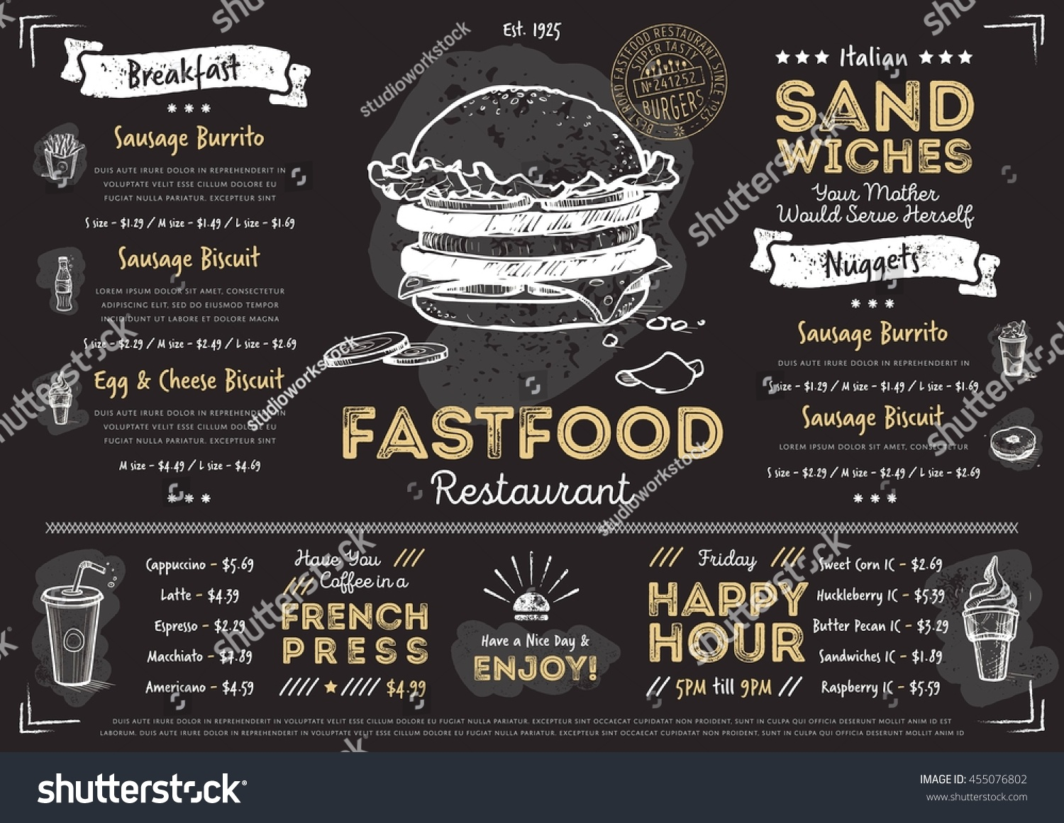 royalty free fast food menu cover layout with 455076802. Black Bedroom Furniture Sets. Home Design Ideas