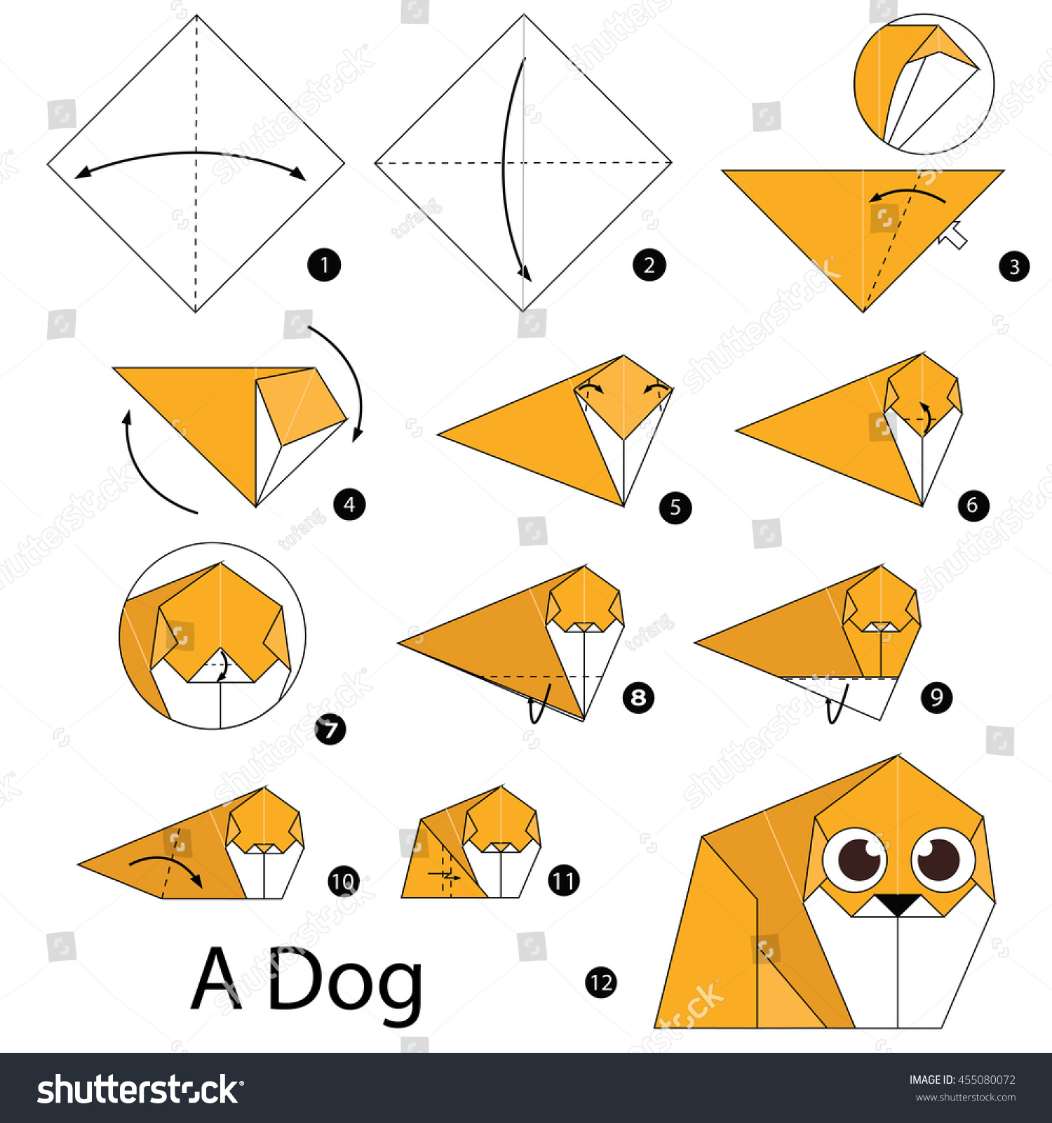 Step by step instructions how make stock vector 455080072 step by step instructions how to make origami dog jeuxipadfo Image collections