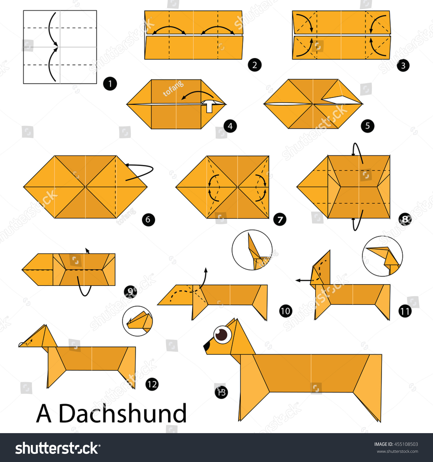 Step by step instructions how make stock vector 455108503 step by step instructions how to make origami a dog jeuxipadfo Image collections