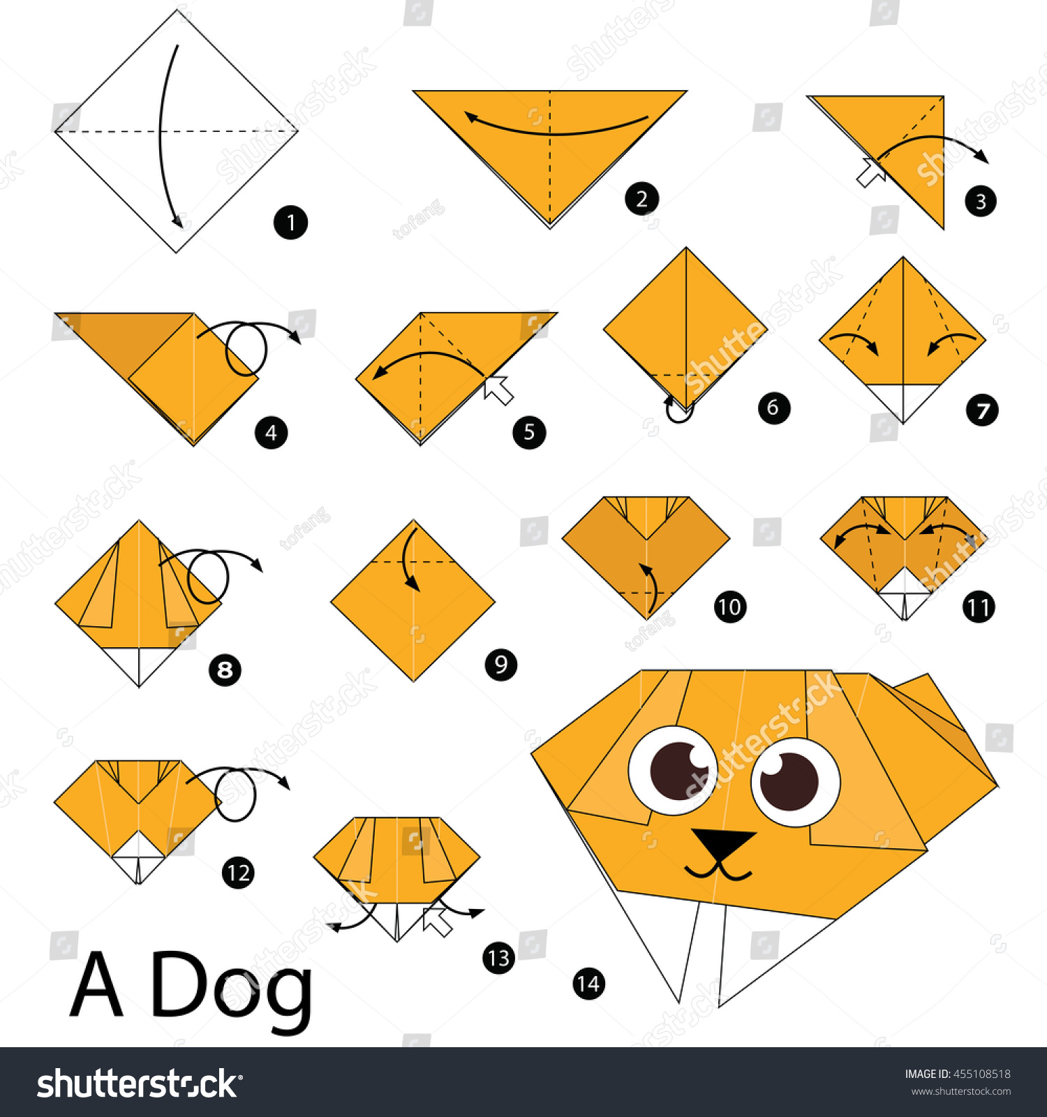 Step By Instructions How Make Stock Vector Royalty Free Origami Diagrams And Designs To Fold An Dog A