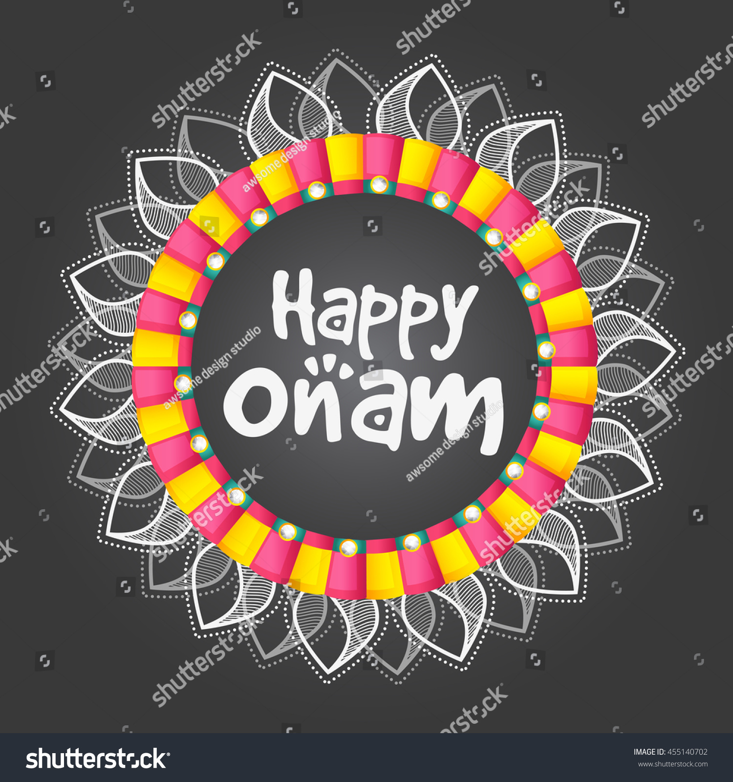 Beautiful Greeting Card Onam Celebration Stock Vector Royalty Free