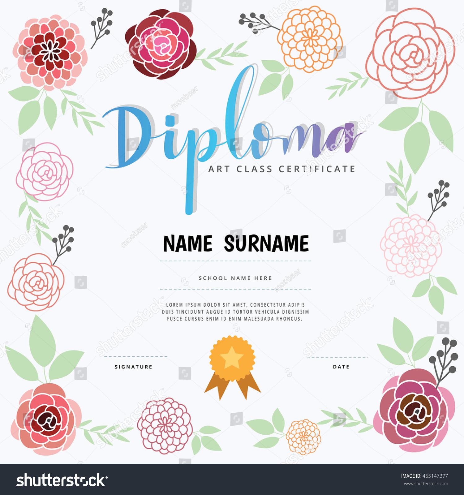 Diploma Art Class Certification Stock Vector Royalty Free