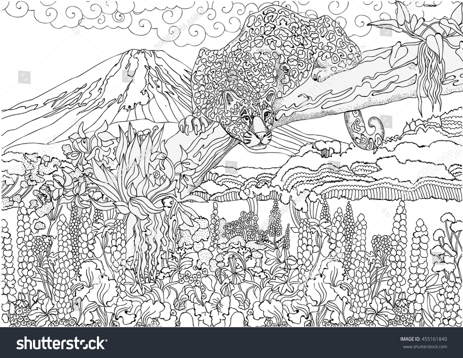coloring pages cheetah on background japanese stock vector