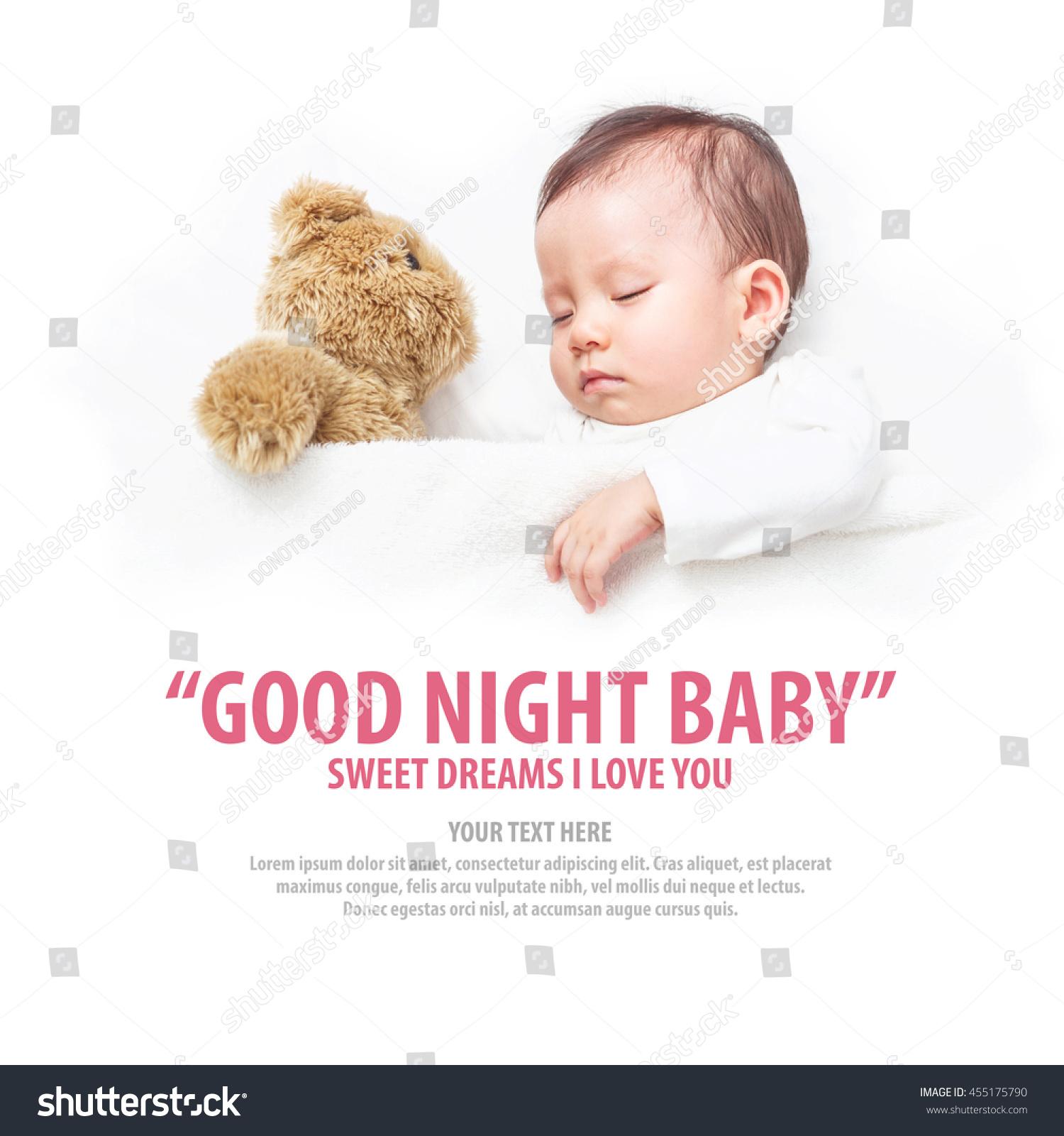 Asian Baby Sleeping Her Teddy Bear Stock Photo Edit Now 455175790