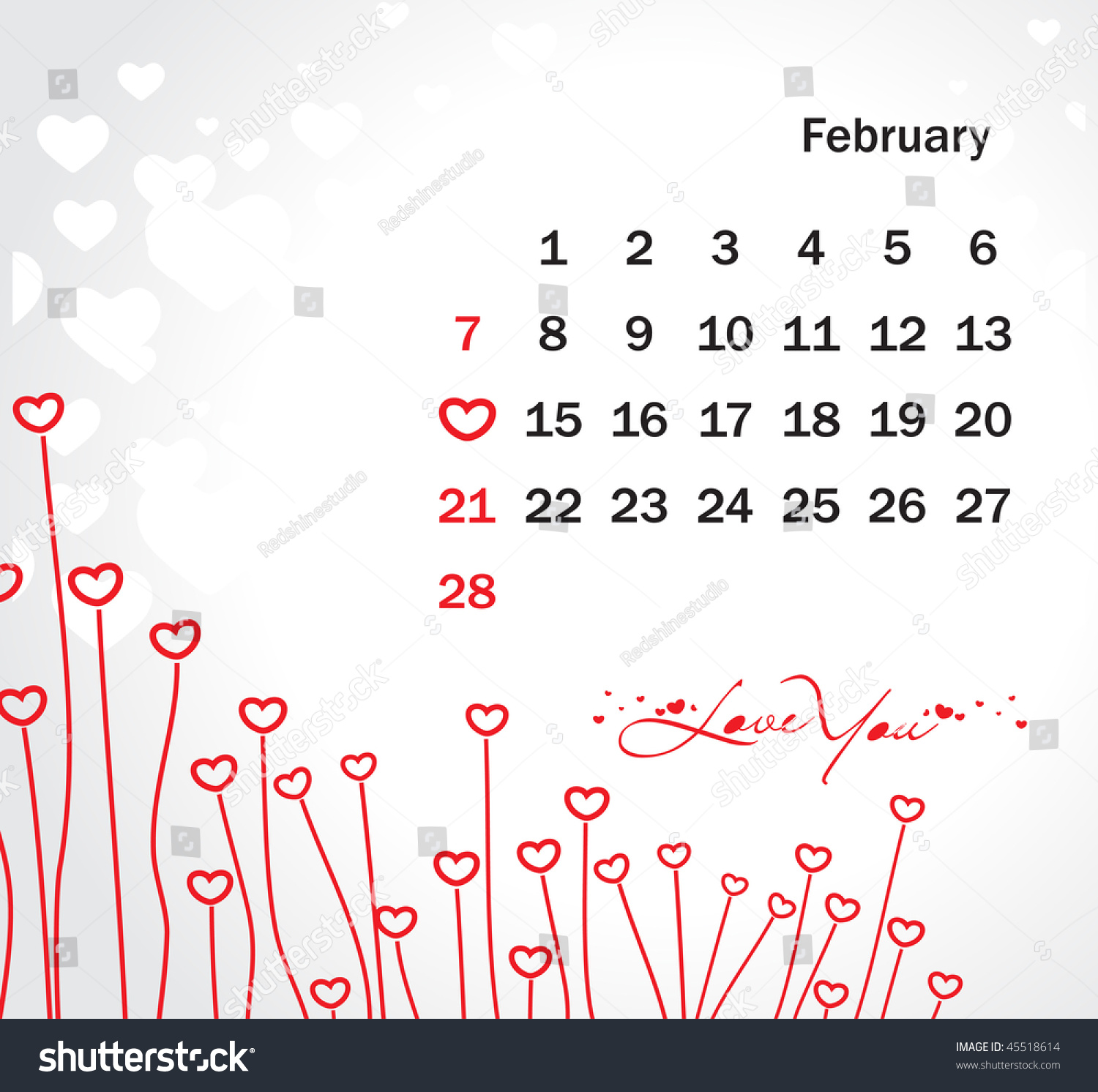 February Calendar Illustration : Abstract valentine s day card with february calendar