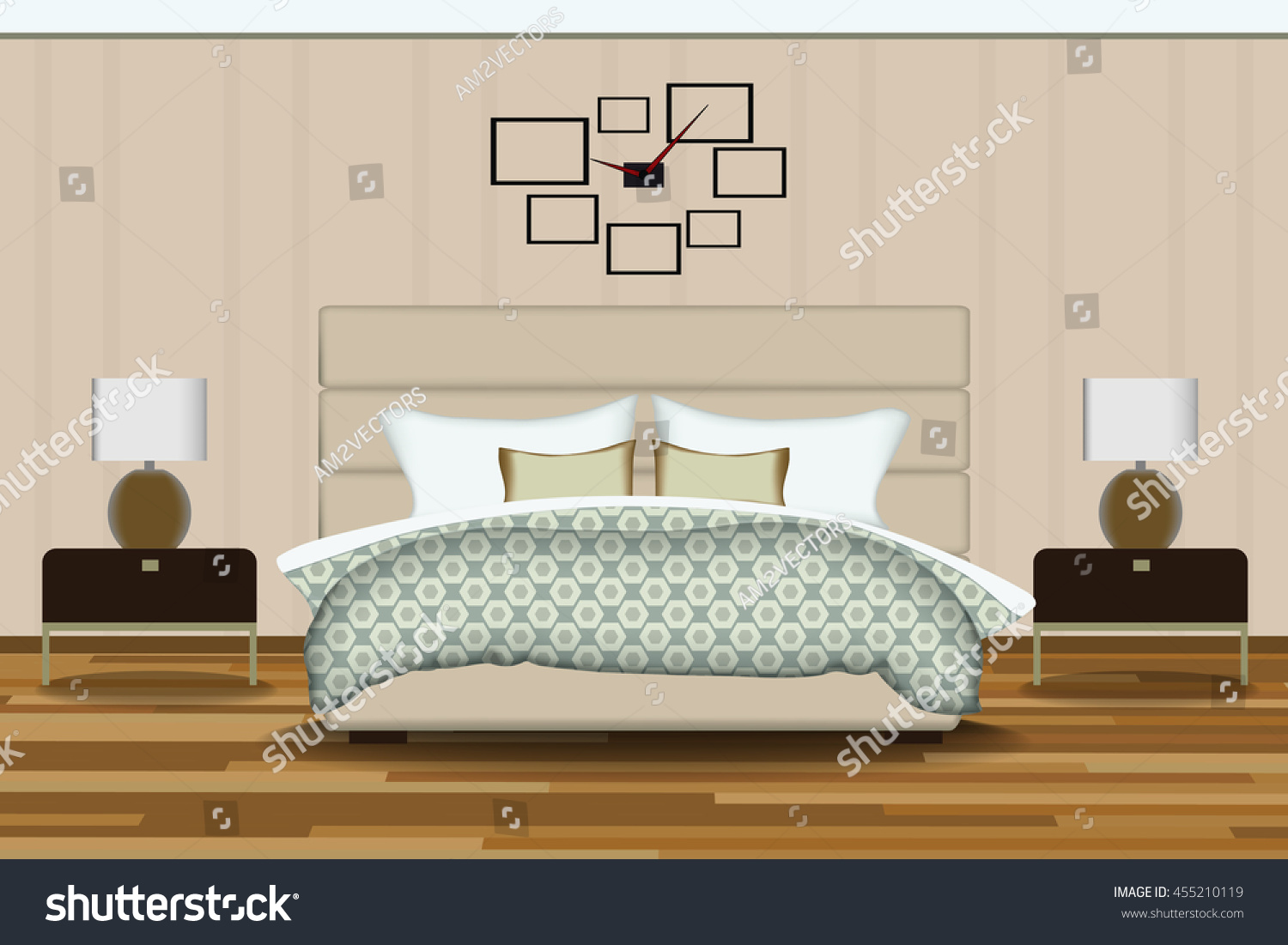 Modern Style Interior Design Vector Illustration Stock Vector Royalty Free 455210119