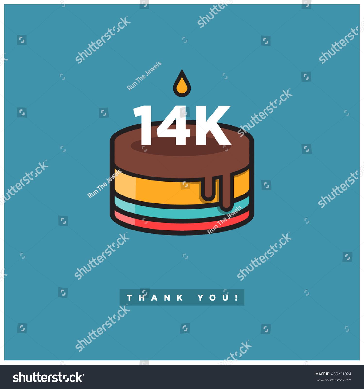 birthday cake 14 k likes vector design stock vector royalty free