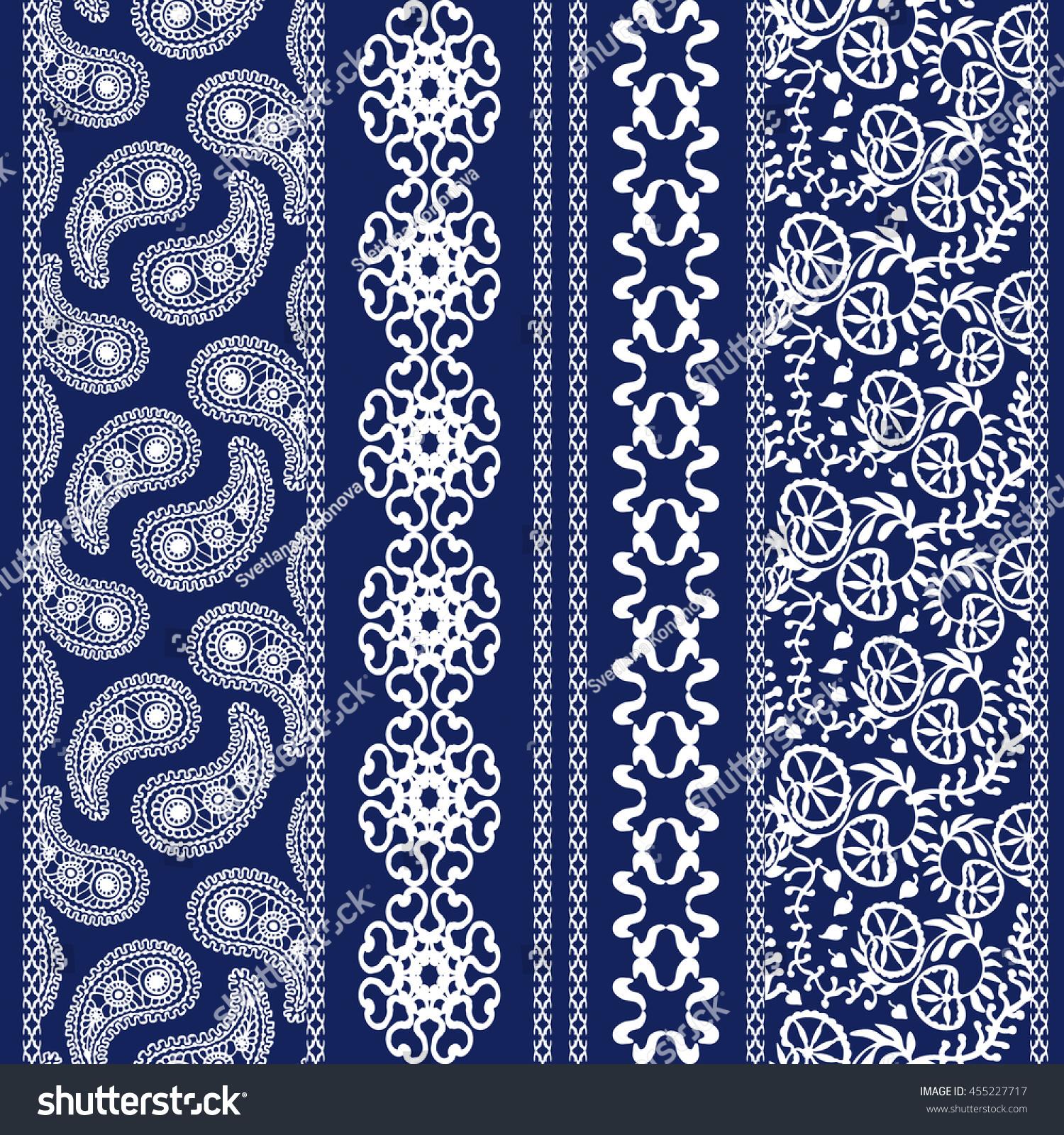 Set Floral Batik Borders Damask Seamless Stock Vector
