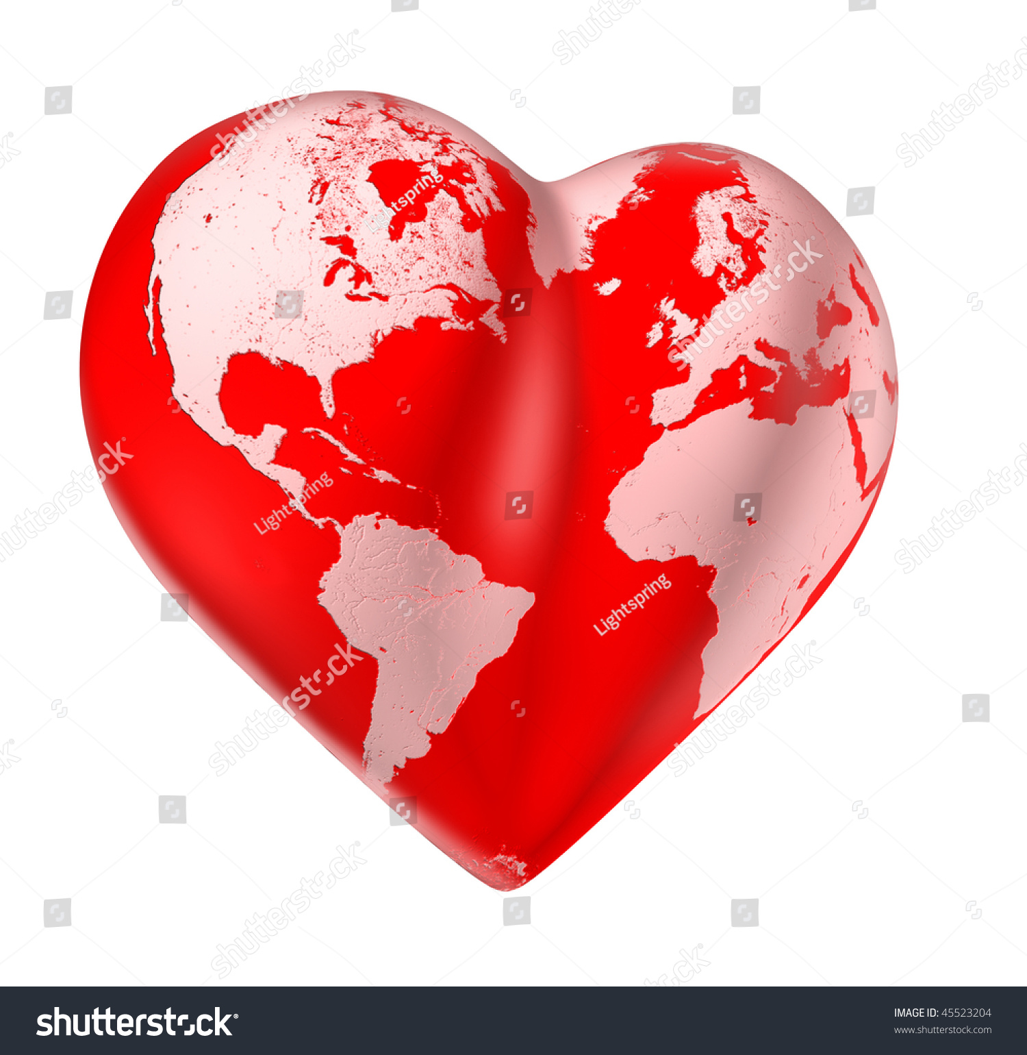 Heart world map of love valentine planet clipping path for World love images