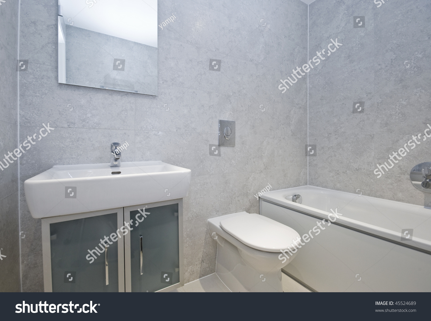 Modern Bathroom White Porcelain Suite Stone Stock Photo (Royalty ...