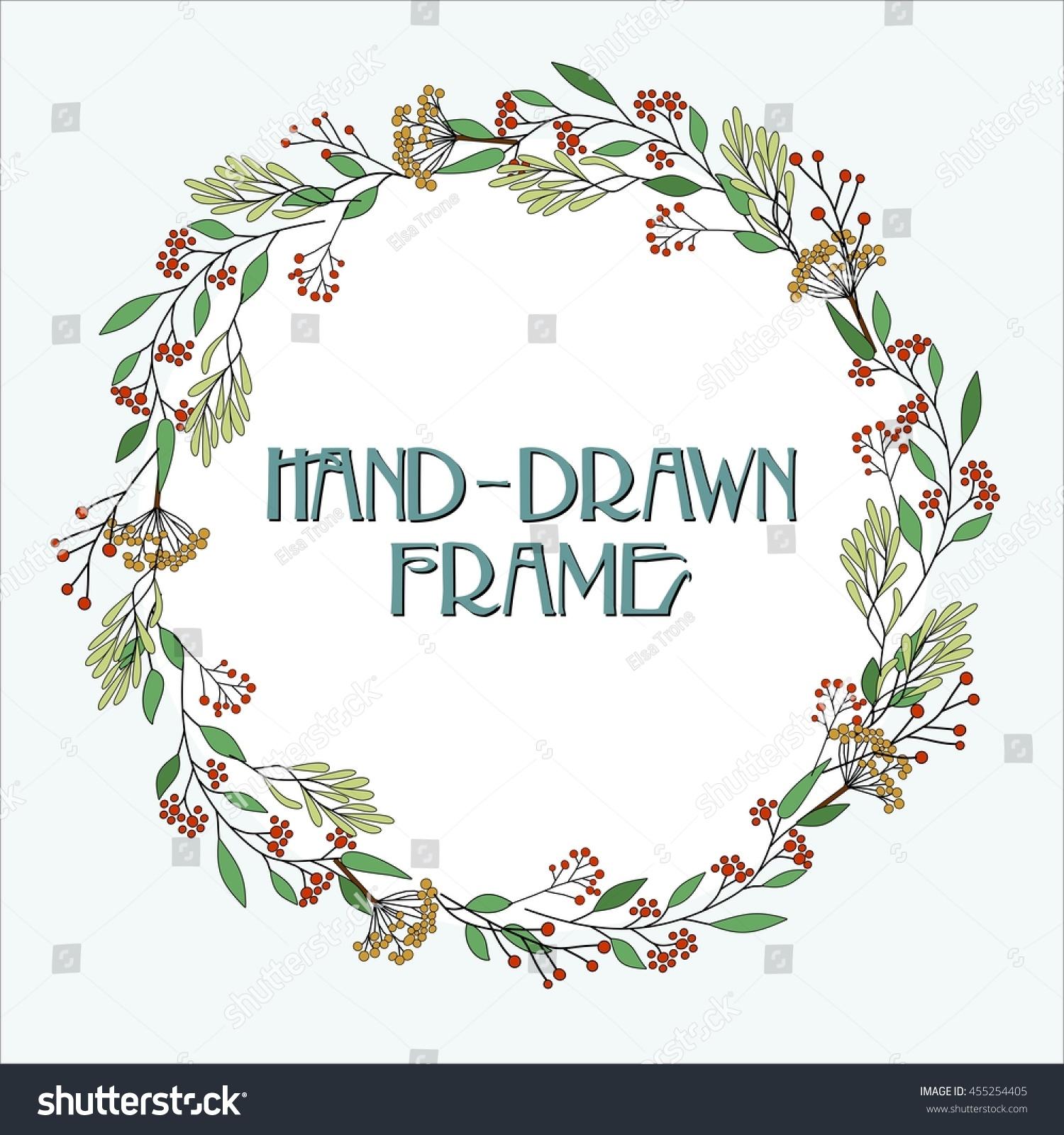 Flower Wreath Greeting Card Handdrawn Christmas Stock Vector
