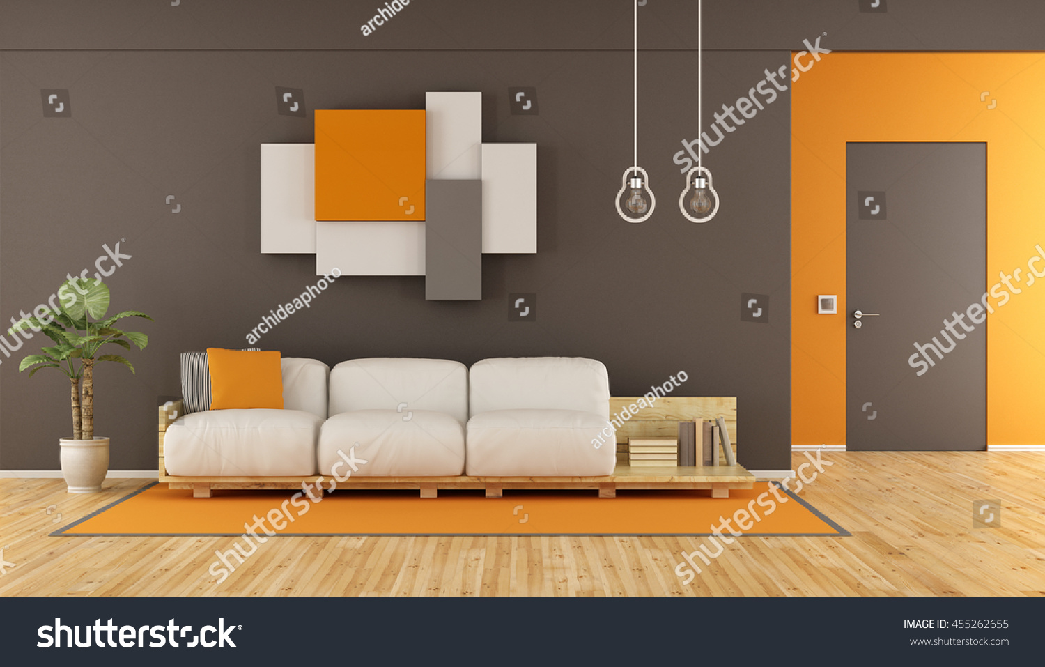 Orange modern living room - Brown And Orange Modern Living Room With Pallet Sofa Wall Unit And Closed Door