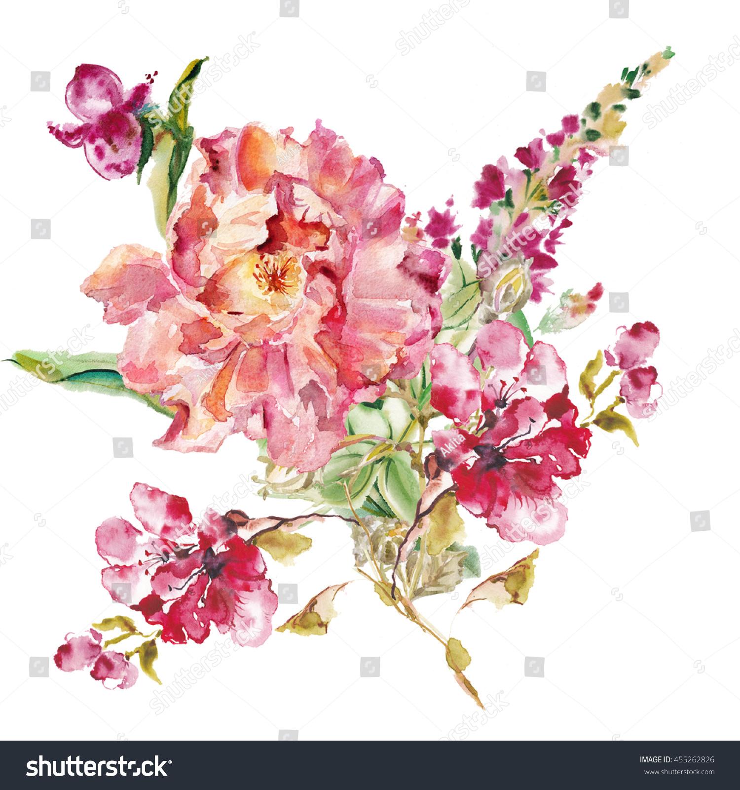 Flower watercolor background. Floral illustration Pink tropical ...