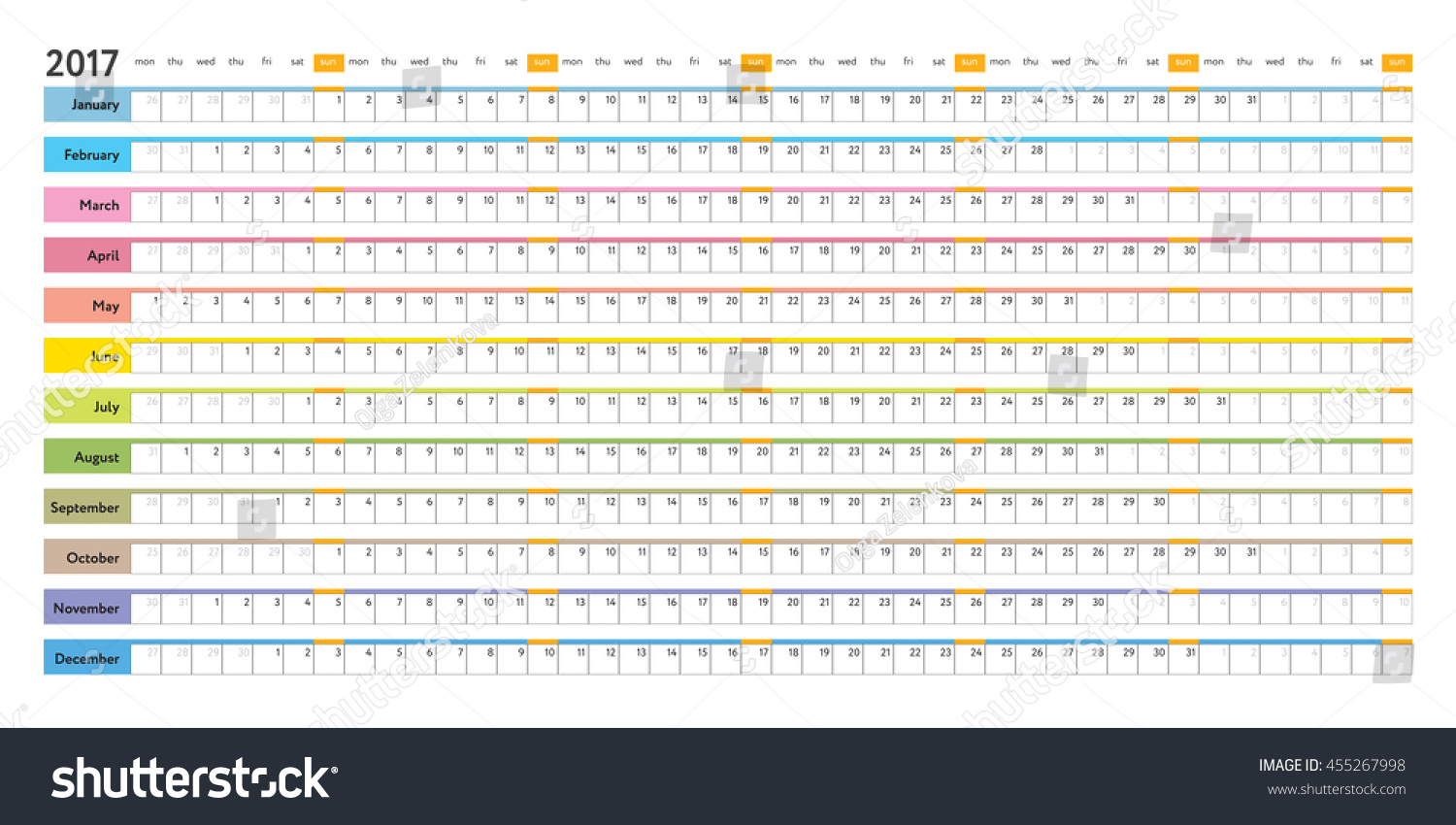 Simple Linear Planner 2017 Calendar Day Stock Vector Royalty Free