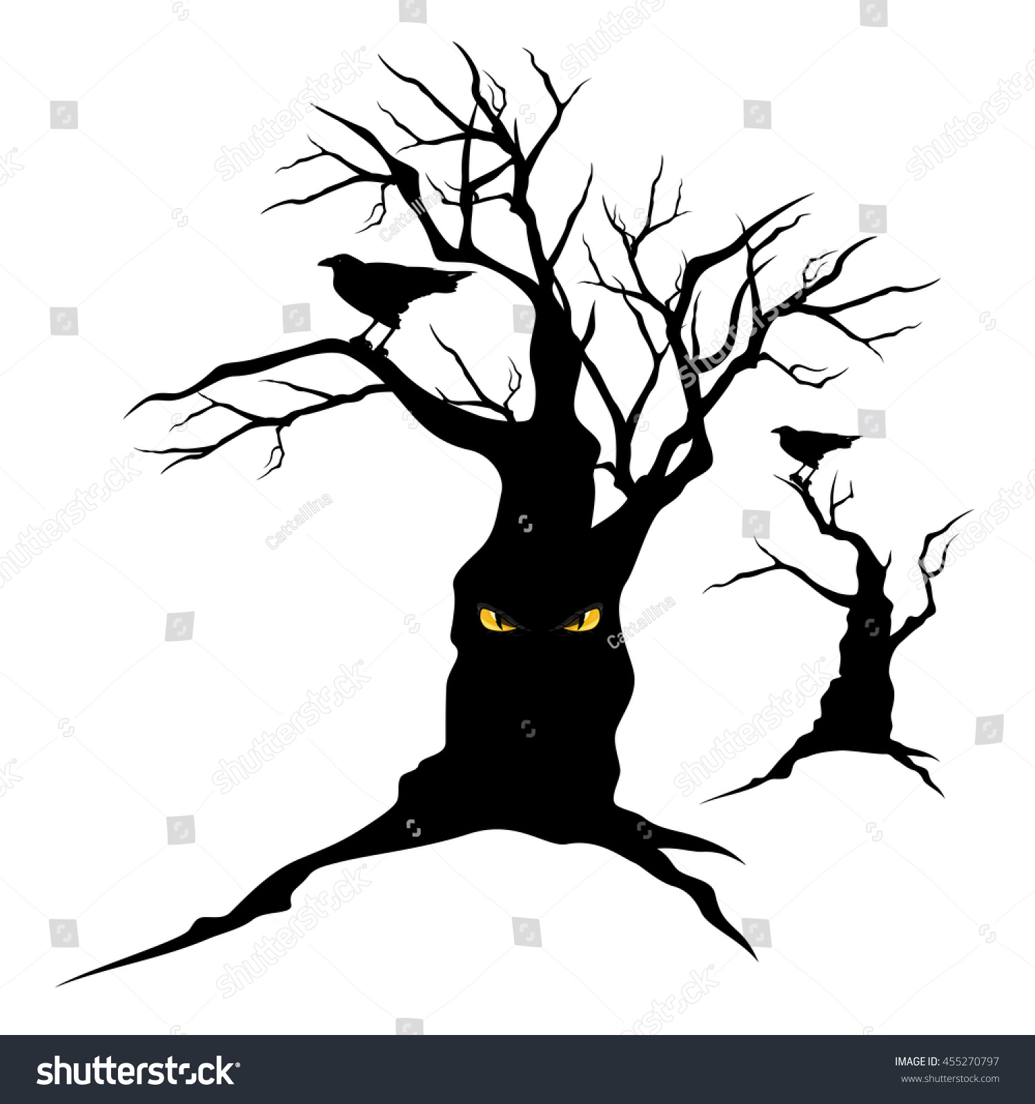 Black Raven Sitting On Creepy Halloween Stock Vector