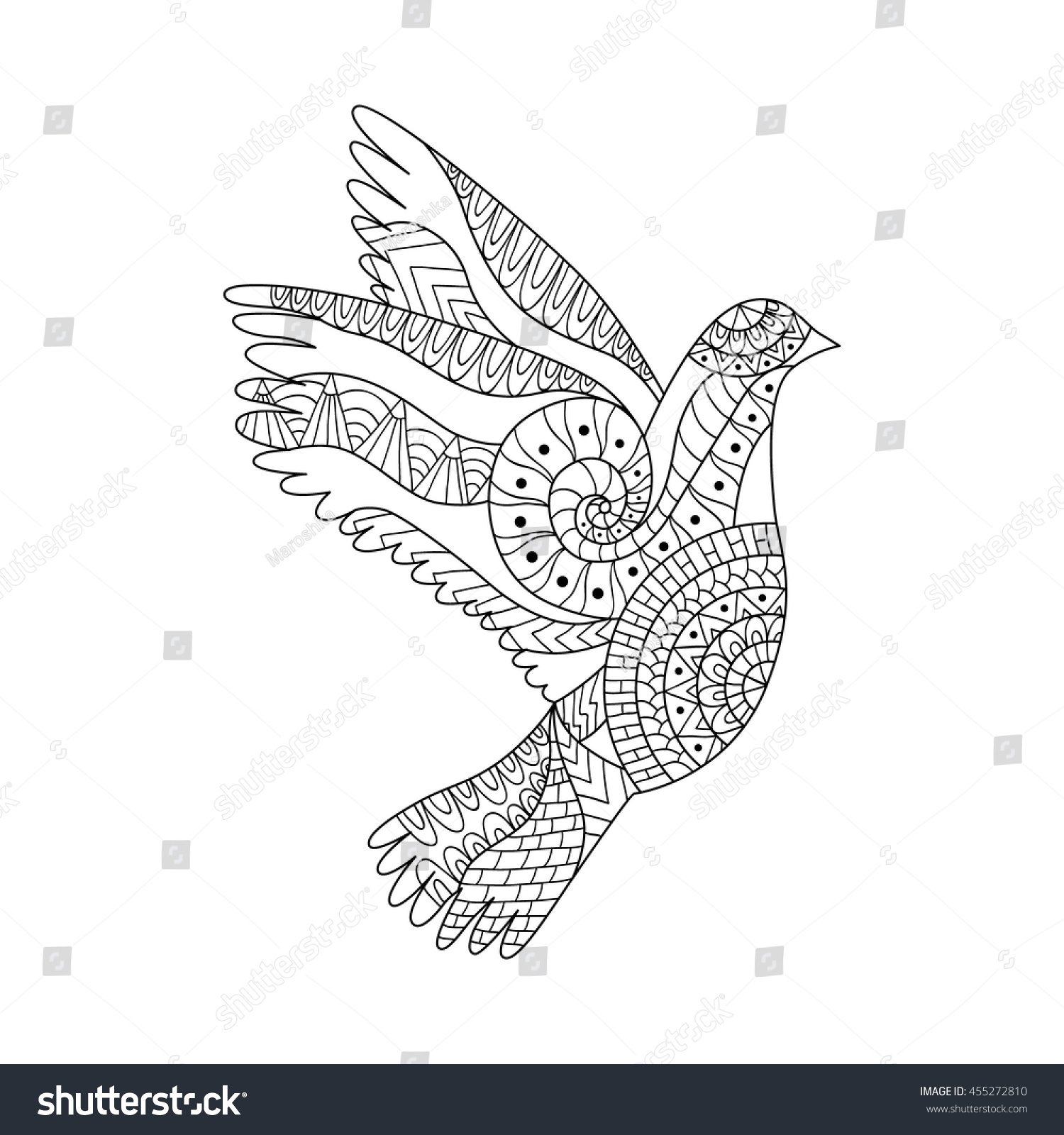 hand drawn flying dove anti stock vector 455272810