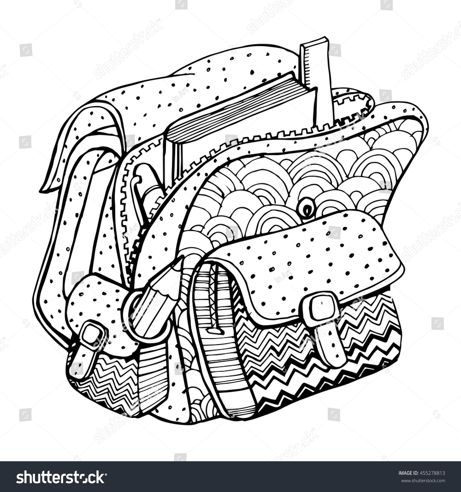 Coloring book bag - School Bag School Supplies Back To School Line Art Black And White