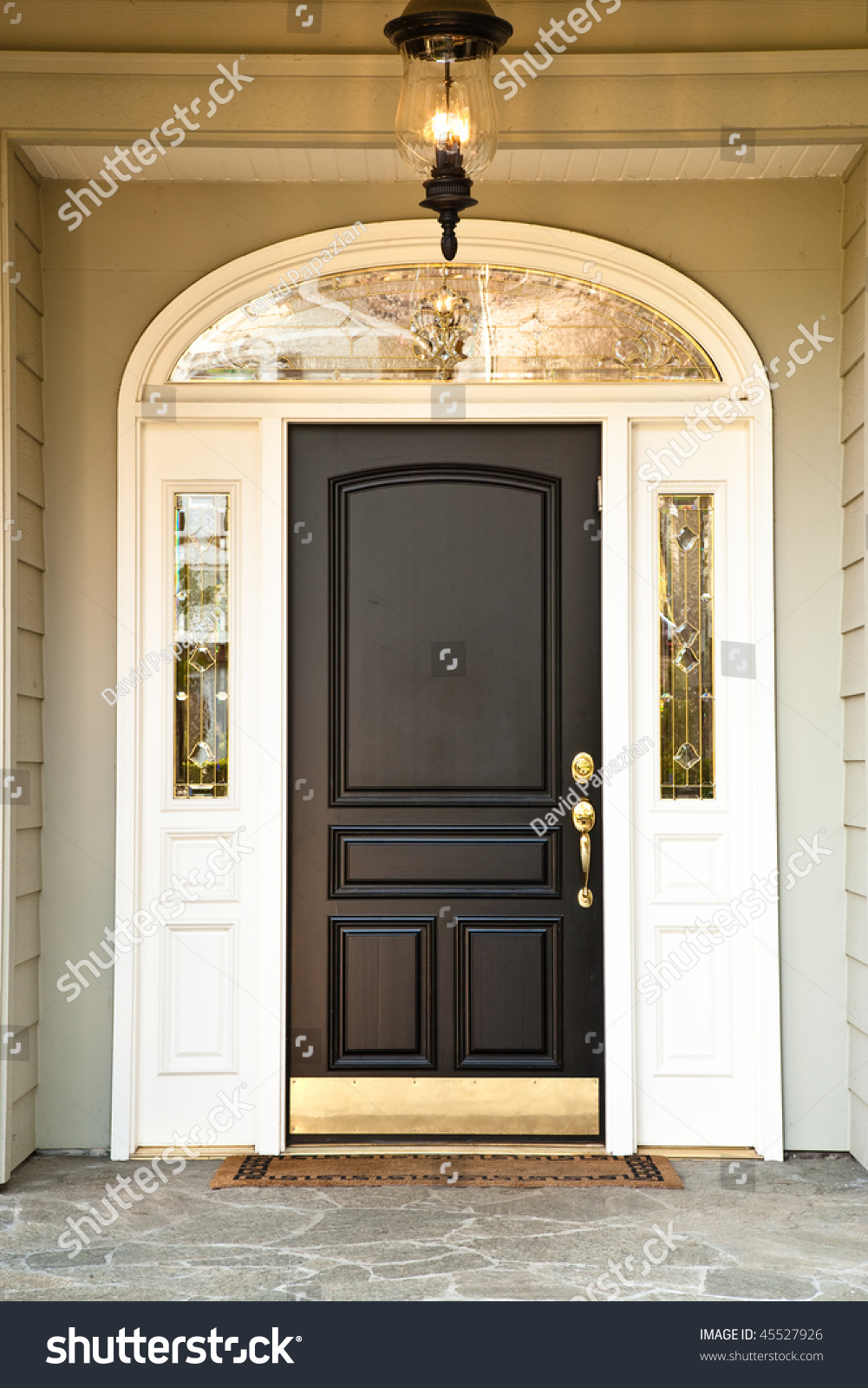Front Door Upscale Home Illuminated Porch Stock Photo 45527926 Shutterstock