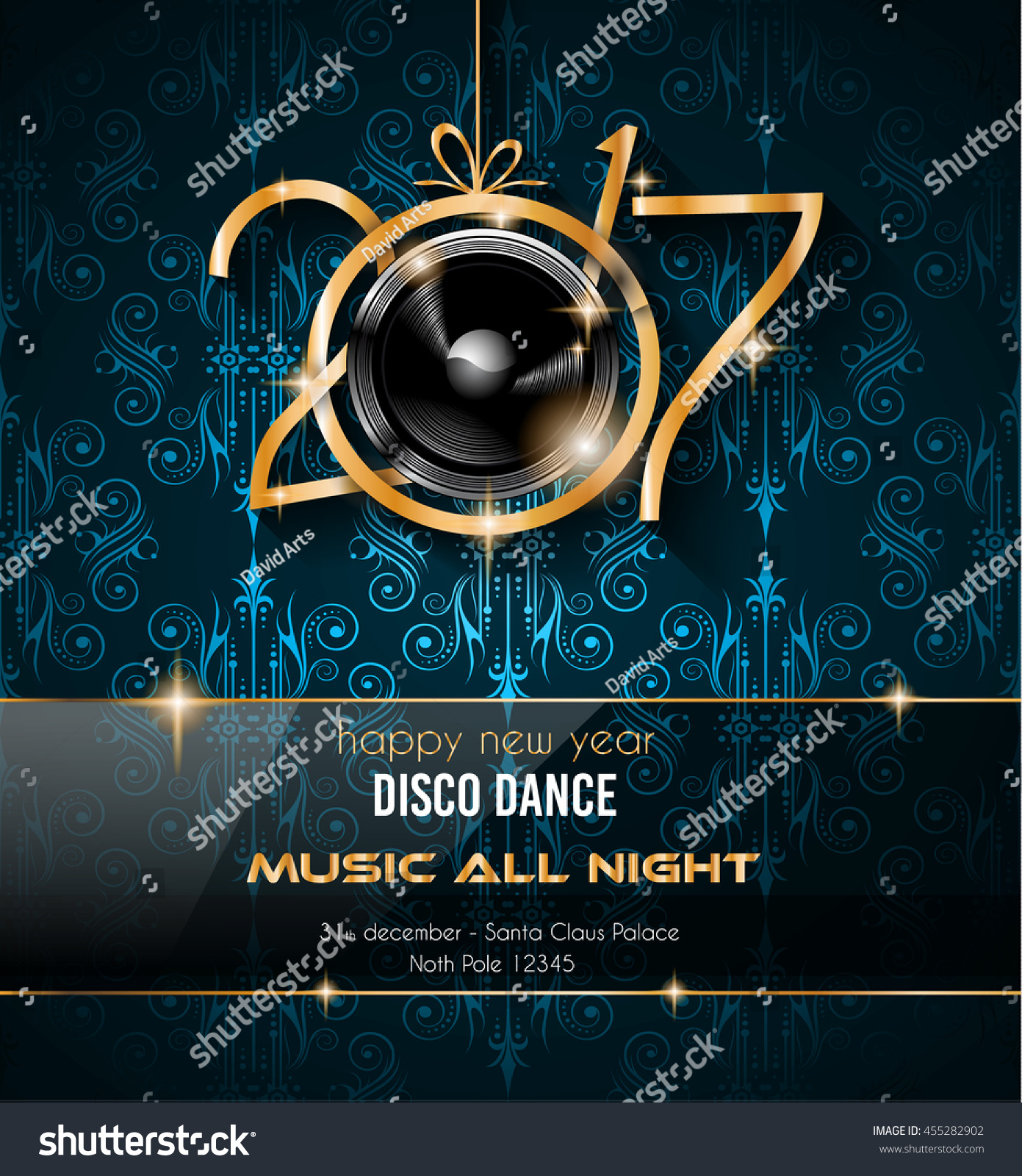 Club Disco Flyer Template Music Elements Stock Illustration ...