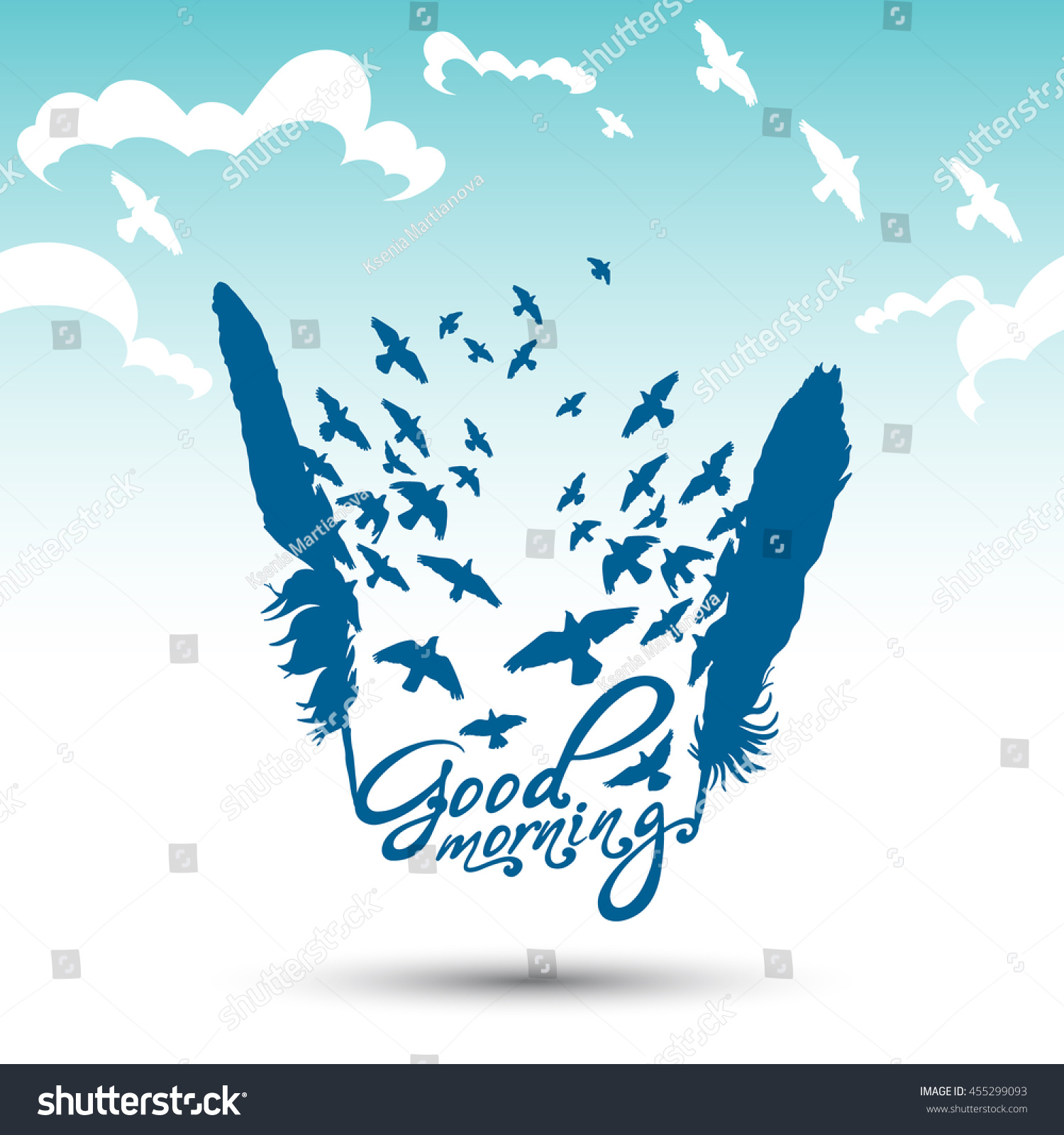 Vector Poster Good Morning Birds Feathers Stock Vector Royalty Free