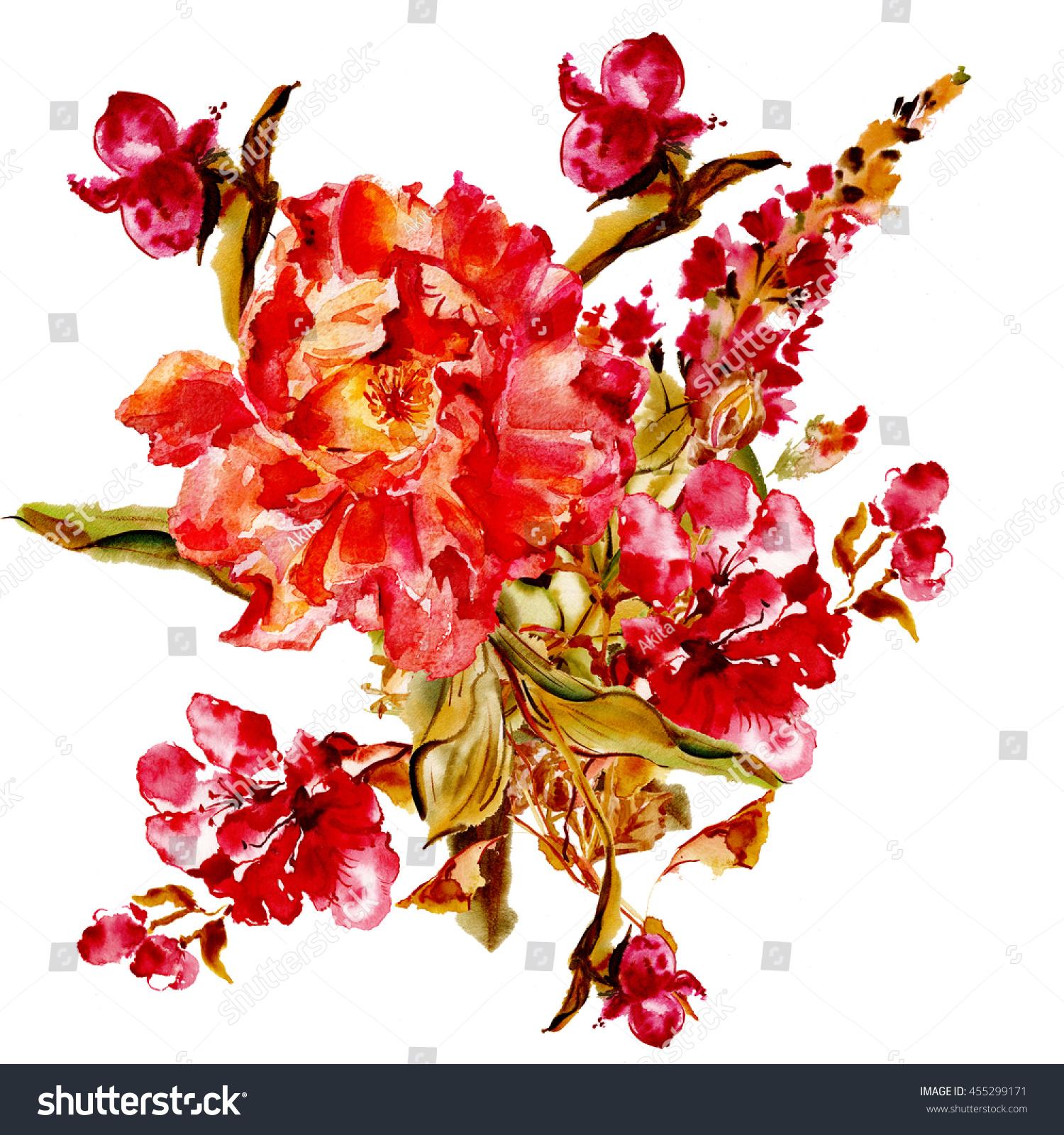 Flower Watercolor Background Floral Illustration Pink Stock ...