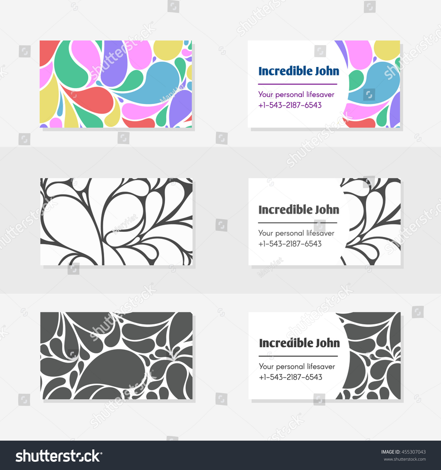 Templates Design Business Cards Style Drops Stock Illustration ...